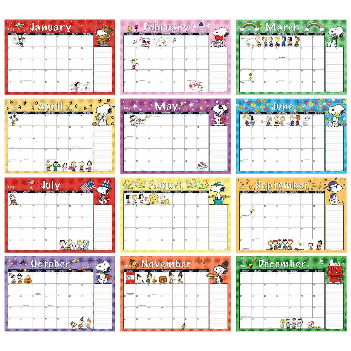 2019-2020 Peanuts® Calendar Pad | Printable Planner Pages