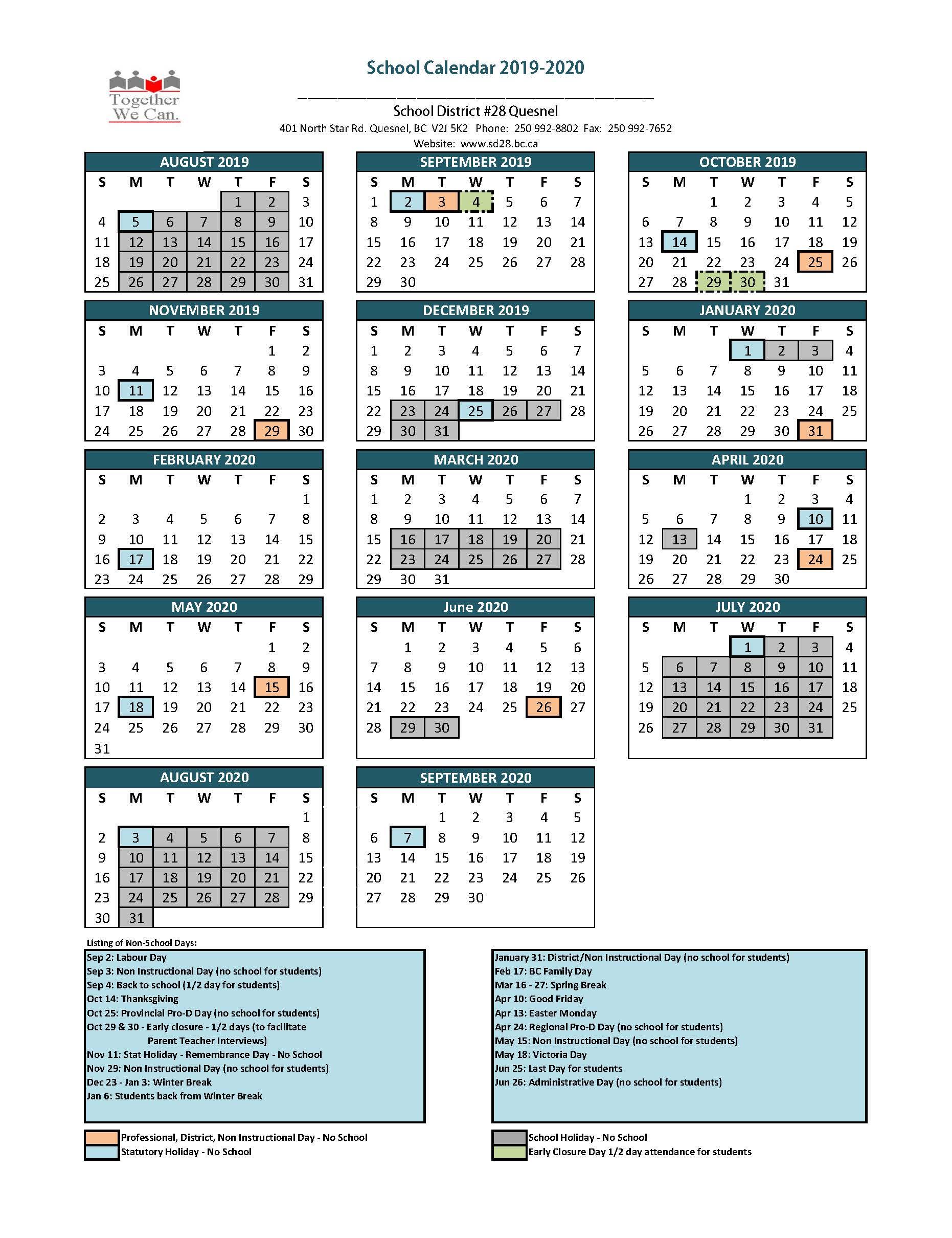 2019-2020 School Calendar | School District 28 (Quesnel)
