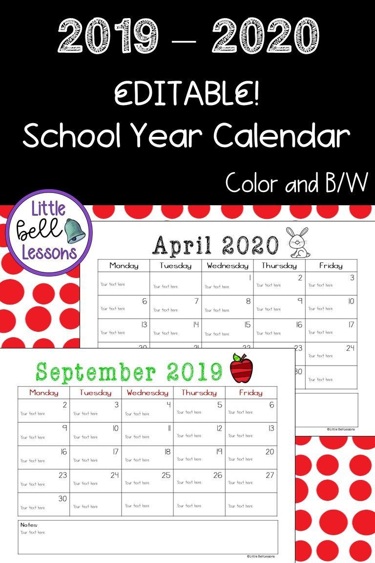 2019-2020 School Year Printable Calendars {Editable!}