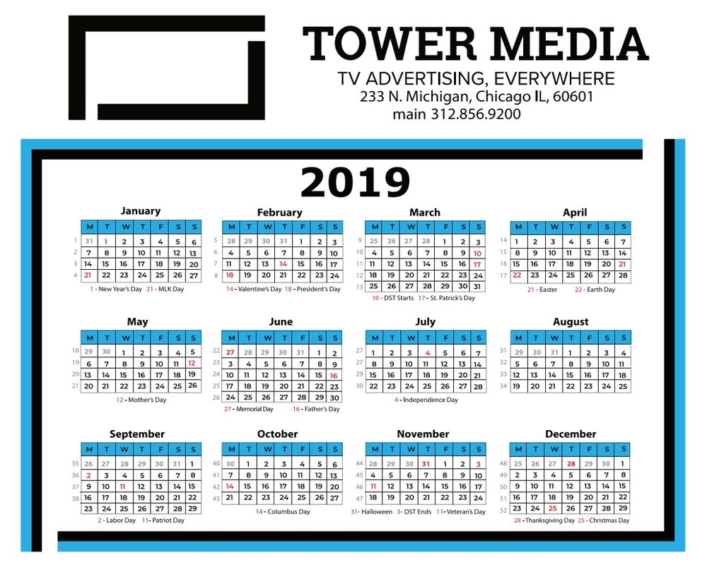 2019 Broadcast Calendar — Your Ad On Tv - Tower Media