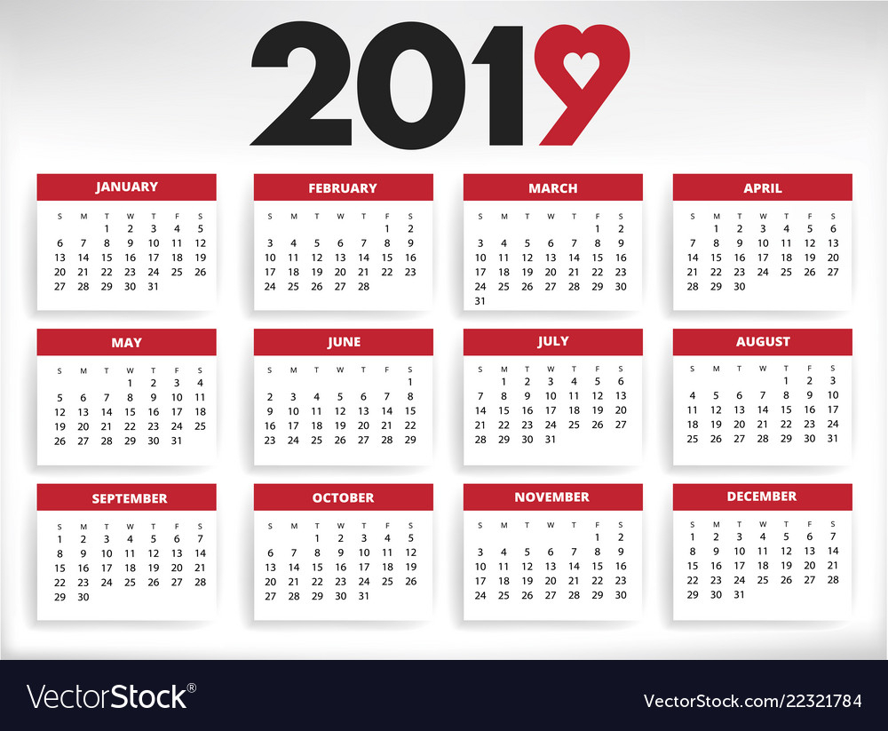 2019 Calendar All Year Months Days With Heart