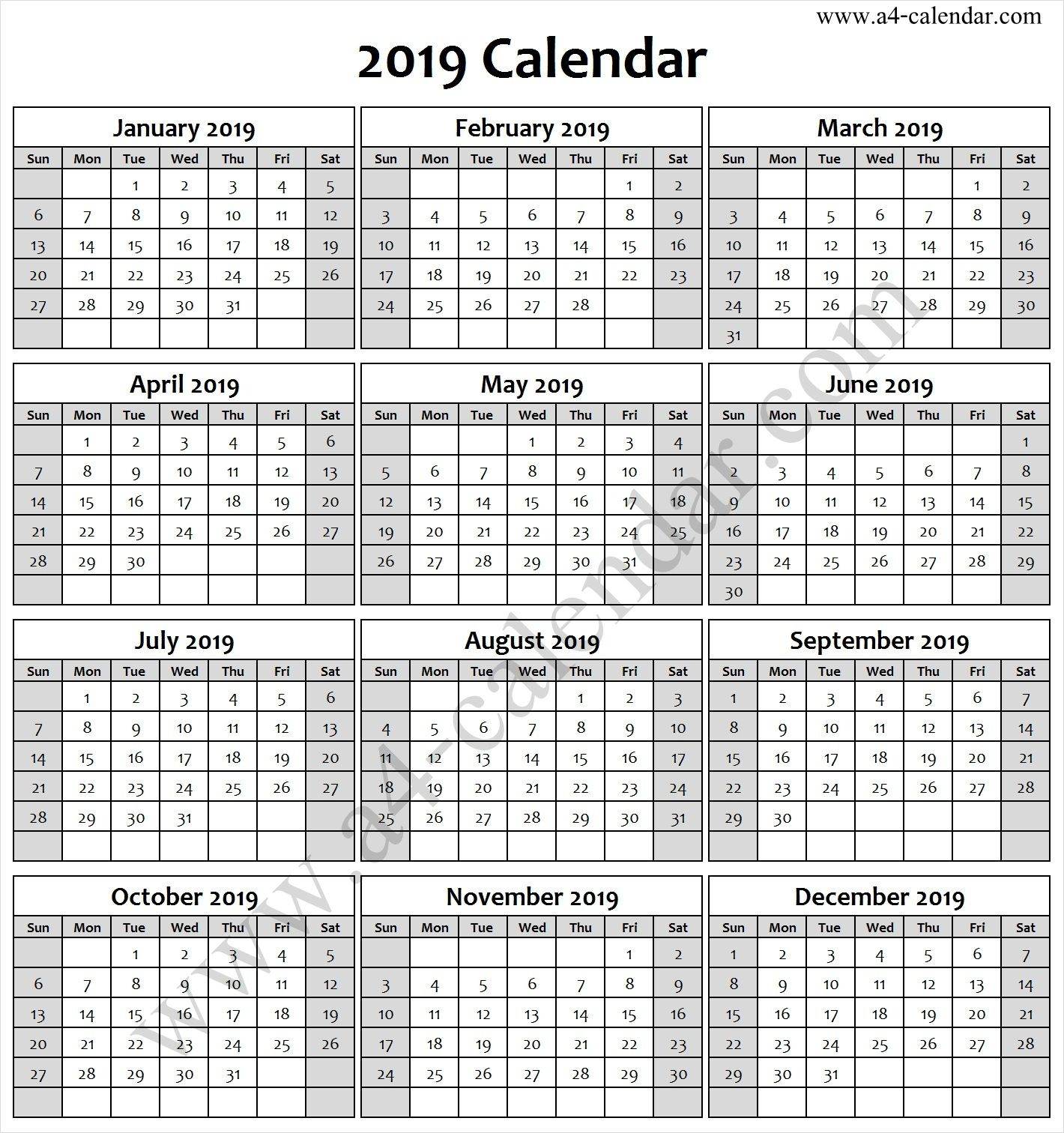 2019 Calendar Black And White | 2019 Calendar, Free
