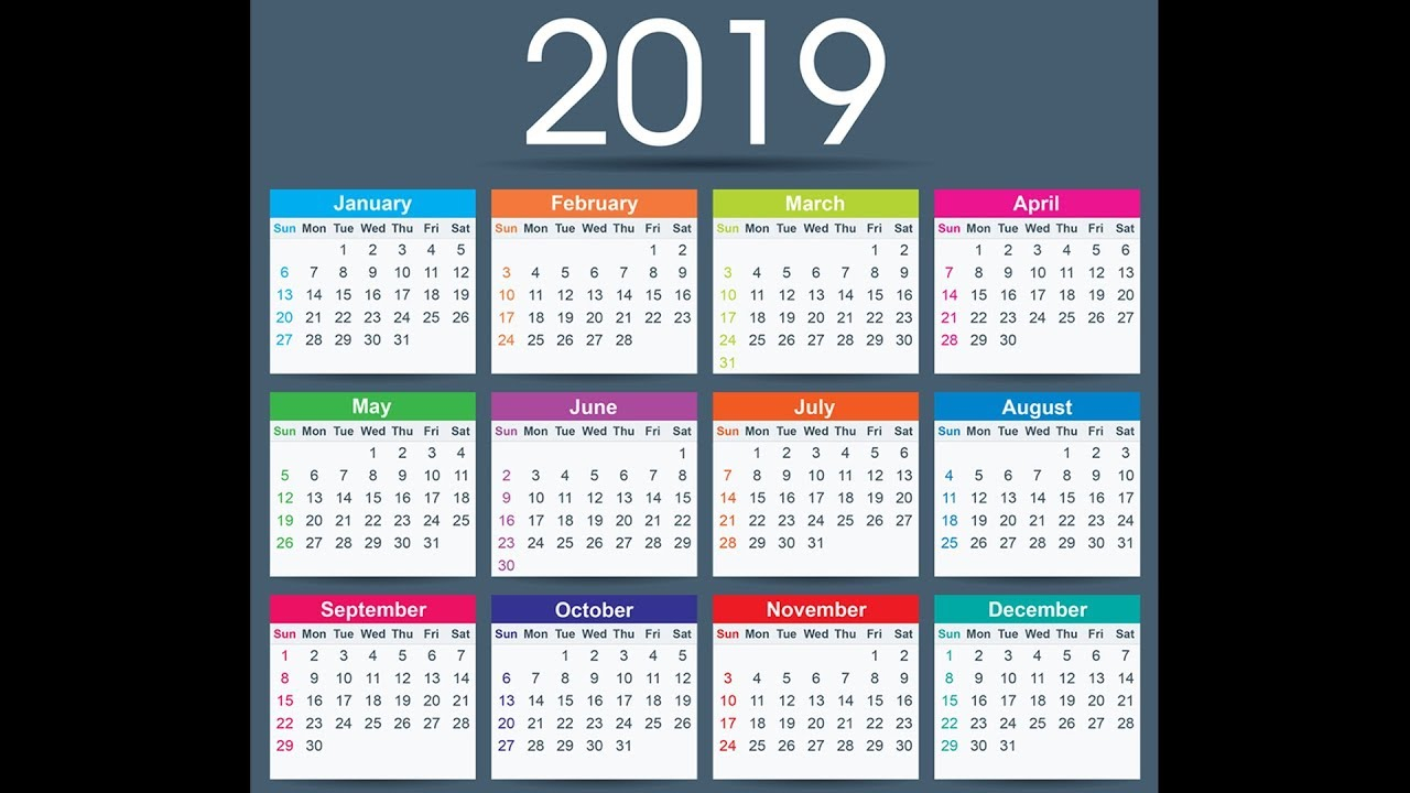 2019 Calendar Free Download