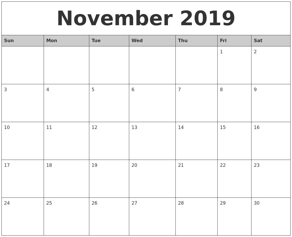 2019 Calendar November | Monthly Calendar Template, Calendar