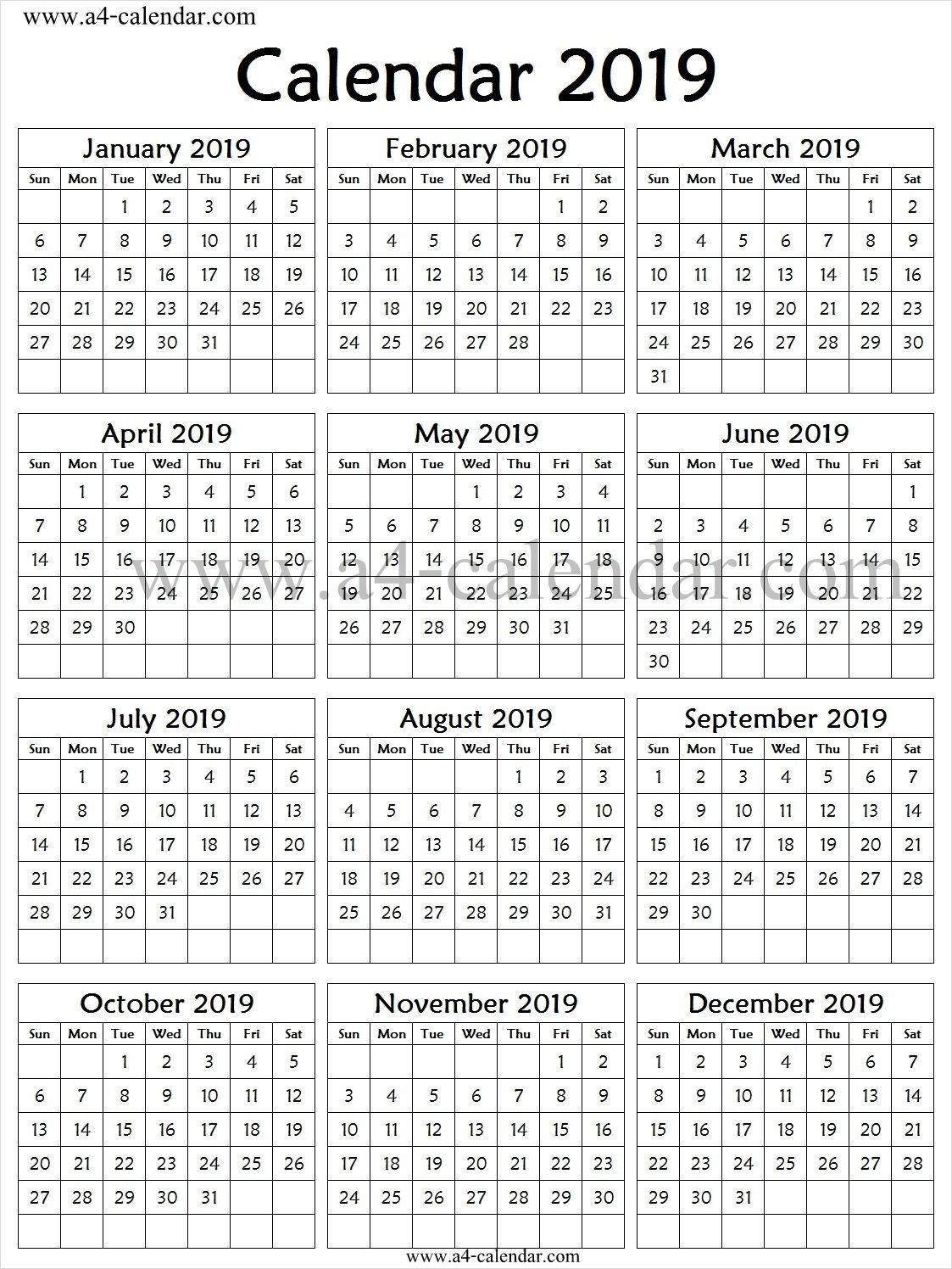 2019 Calendar One Page Vertical | 2019 Calendar, First Page