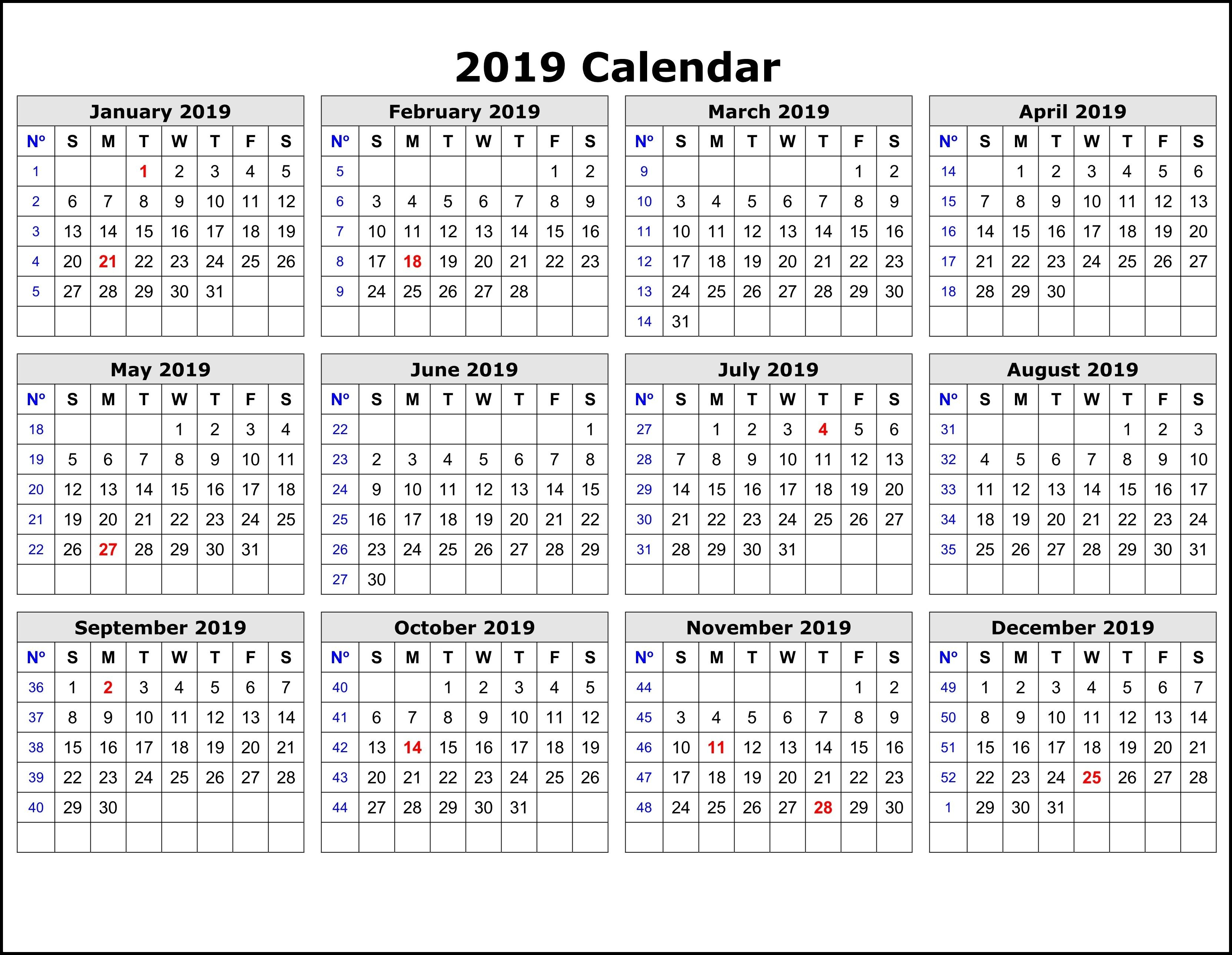 2019 Calendar Templateweek   Calendar 2019 Printable