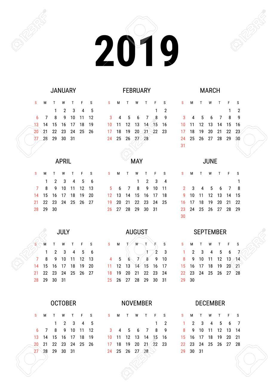 2019 Calendar. Vector Calender Design Template, Year Planner,..