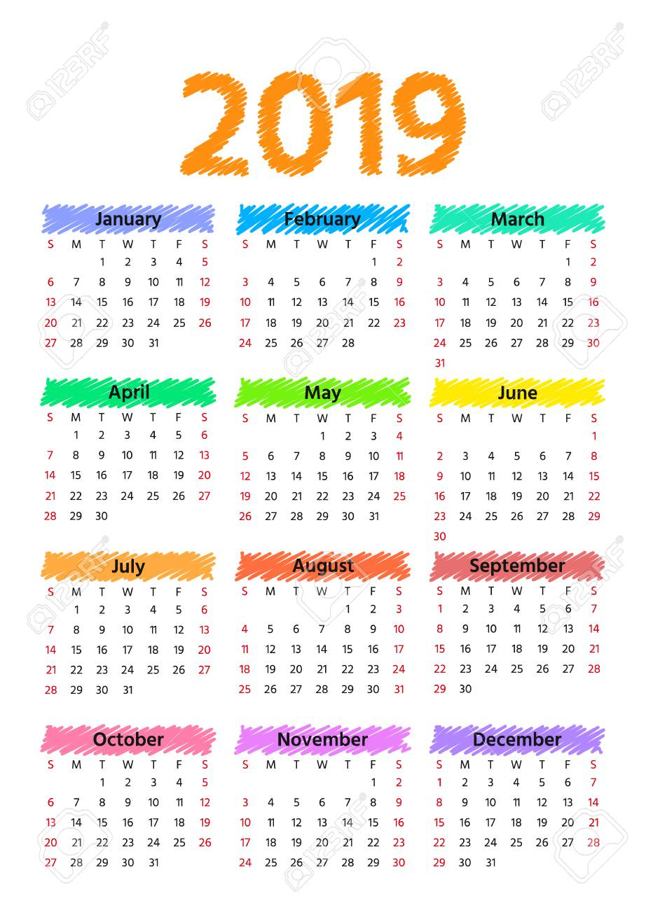 2019 Calendar. Vector. Week Starts Sunday. Stationery 2019 Year..