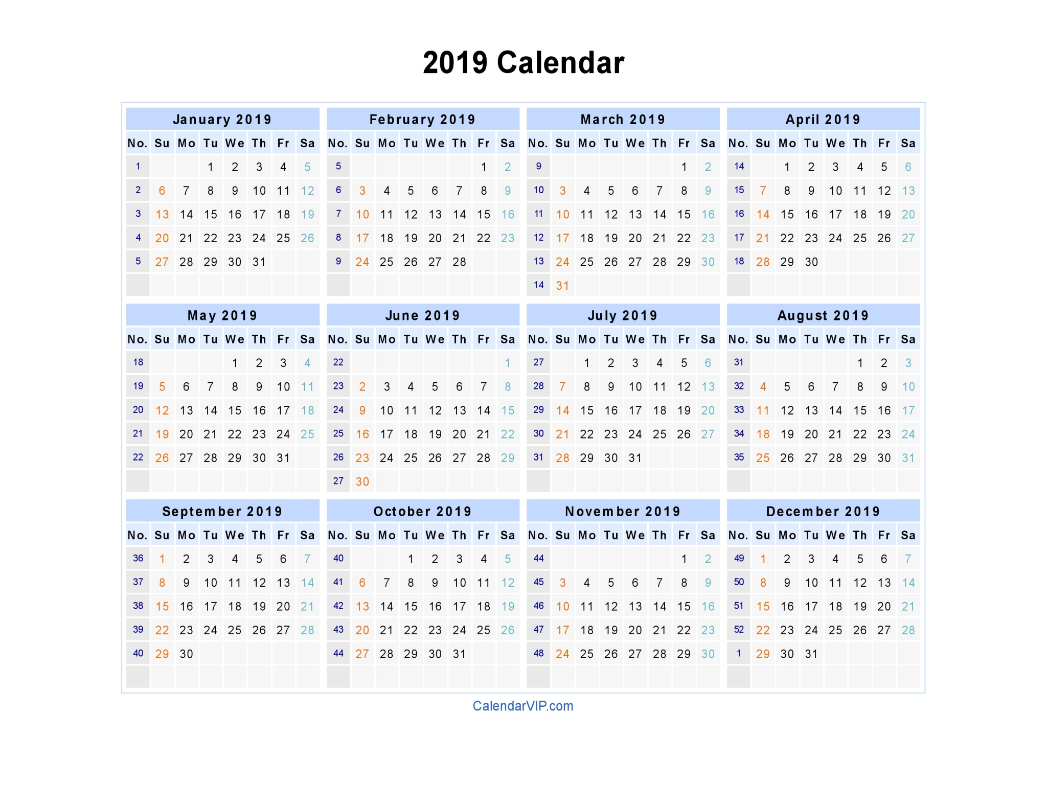 2019 Calendar Word Document - Peri.con-Text.co