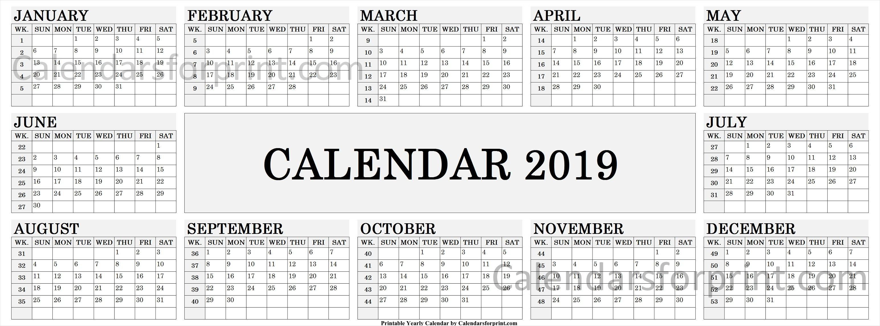 2019 Calendarweek | 2019 Calendar, Yearly Calendar