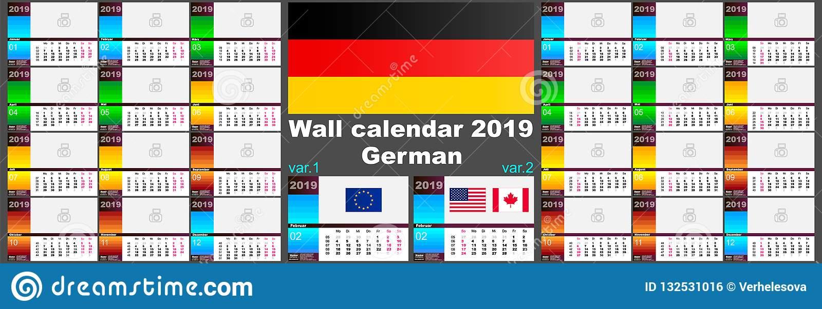 2019 Deutsche German Wall Calendar. Two Iso 8601 Templates