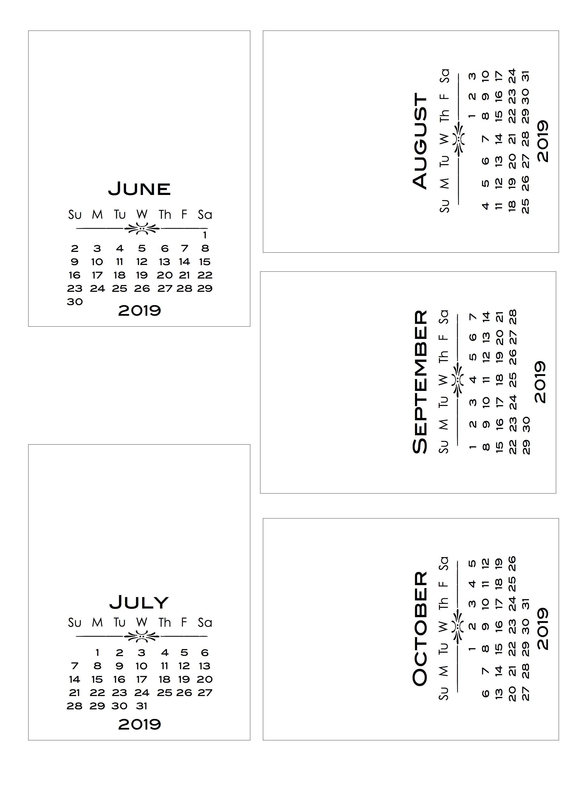 2019 Diy Calendar With Bold Text Pl-Style Cards | Calendar