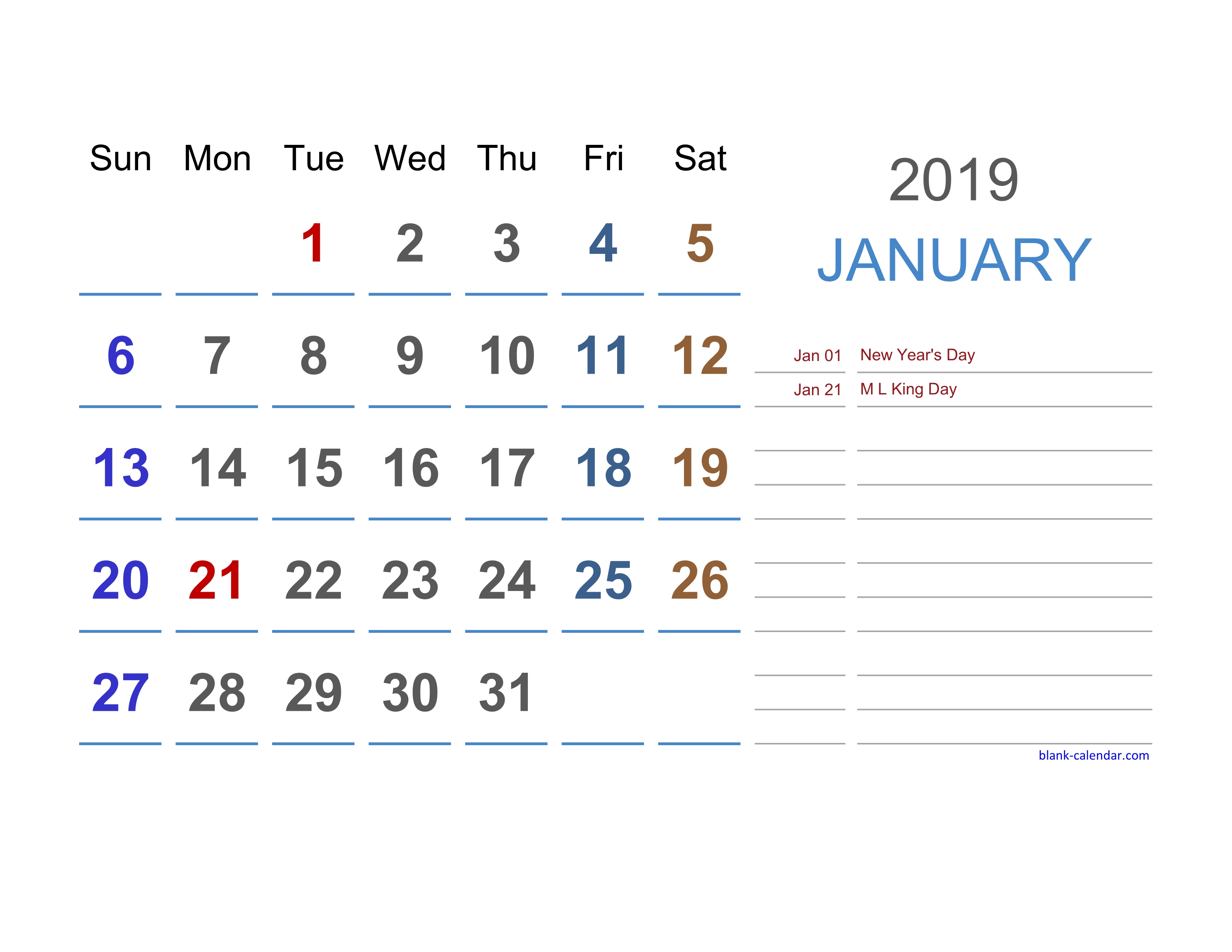 2019 Excel Calendar | Free Download Excel Calendar Templates