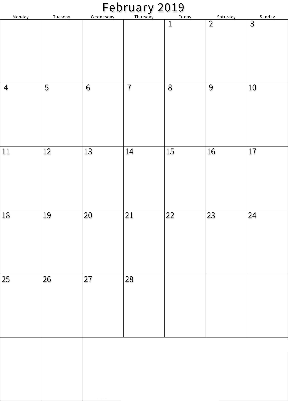 2019 February Printable Calendar Portrait. | Calendar, 2019