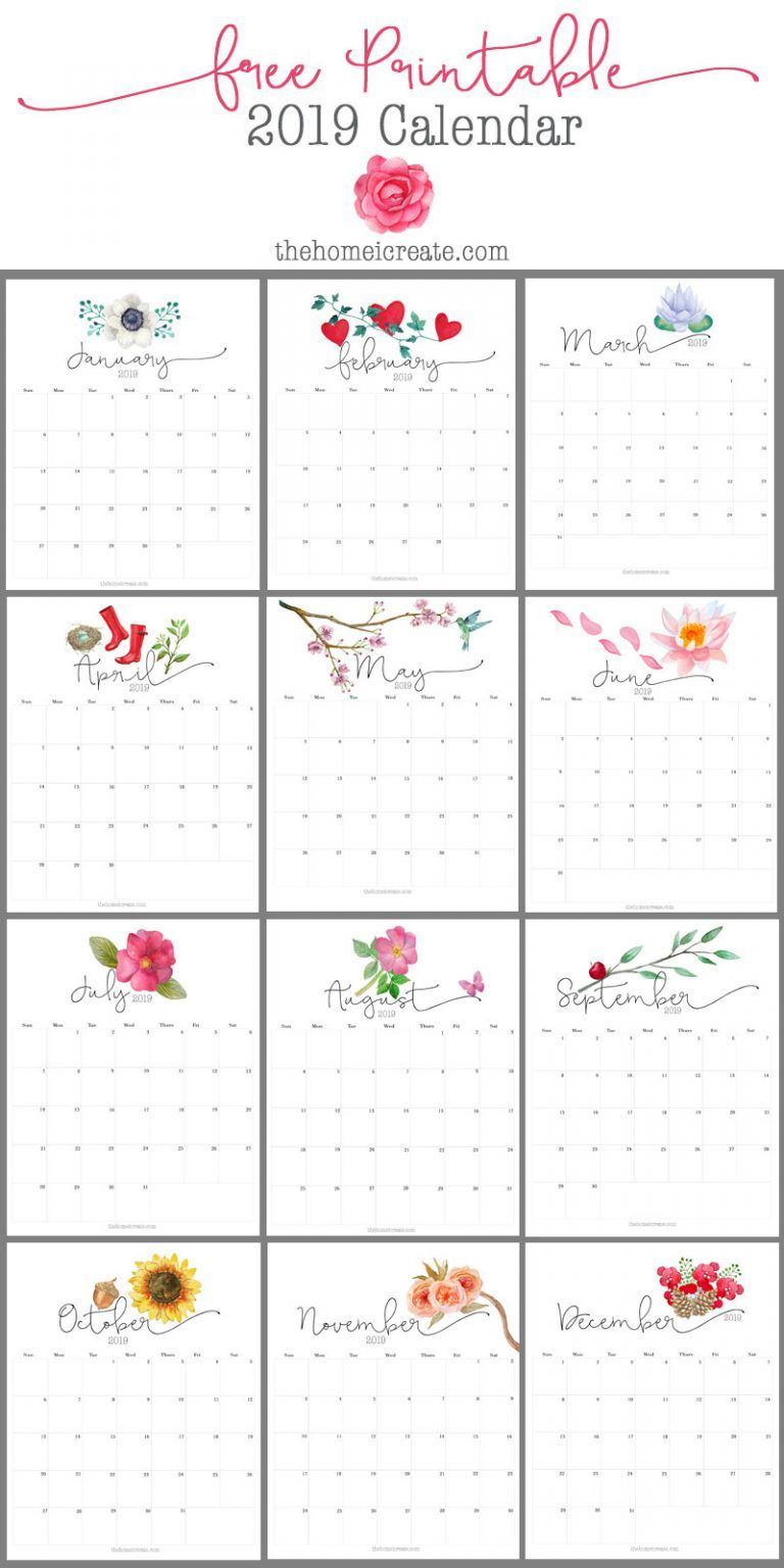 2019 Free Printable Calendar | House | Free Printable
