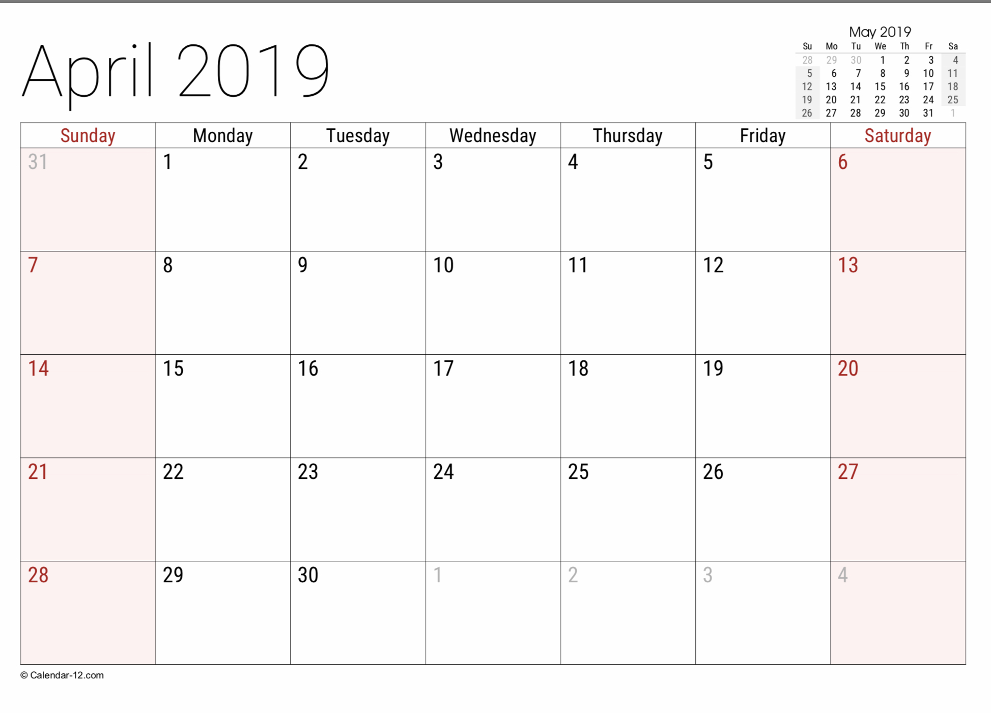 2019 Free Printable Calendar Templates - A Mother's Random