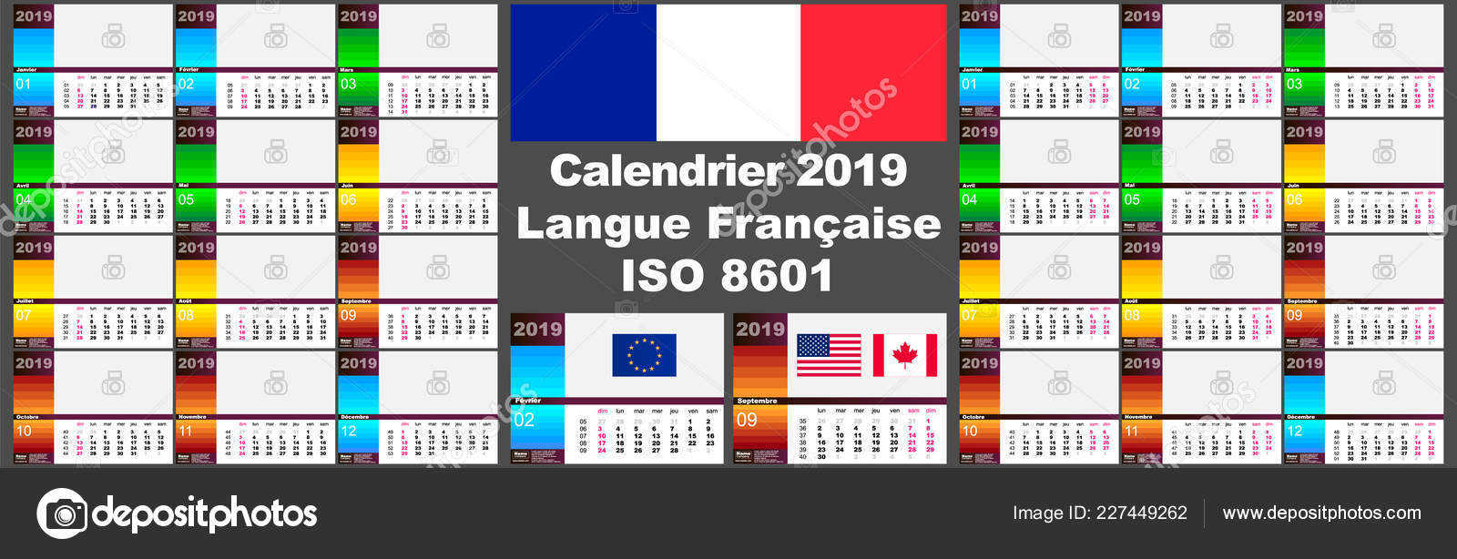 2019 French Wall Calendar. Two Iso 8601 Templates For Europe