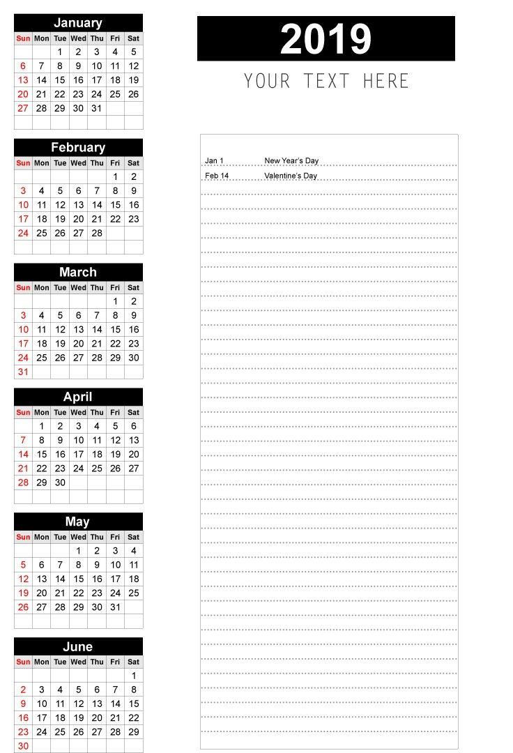 2019 Half Yearly Calendar | Yearly Calendar, Monthly