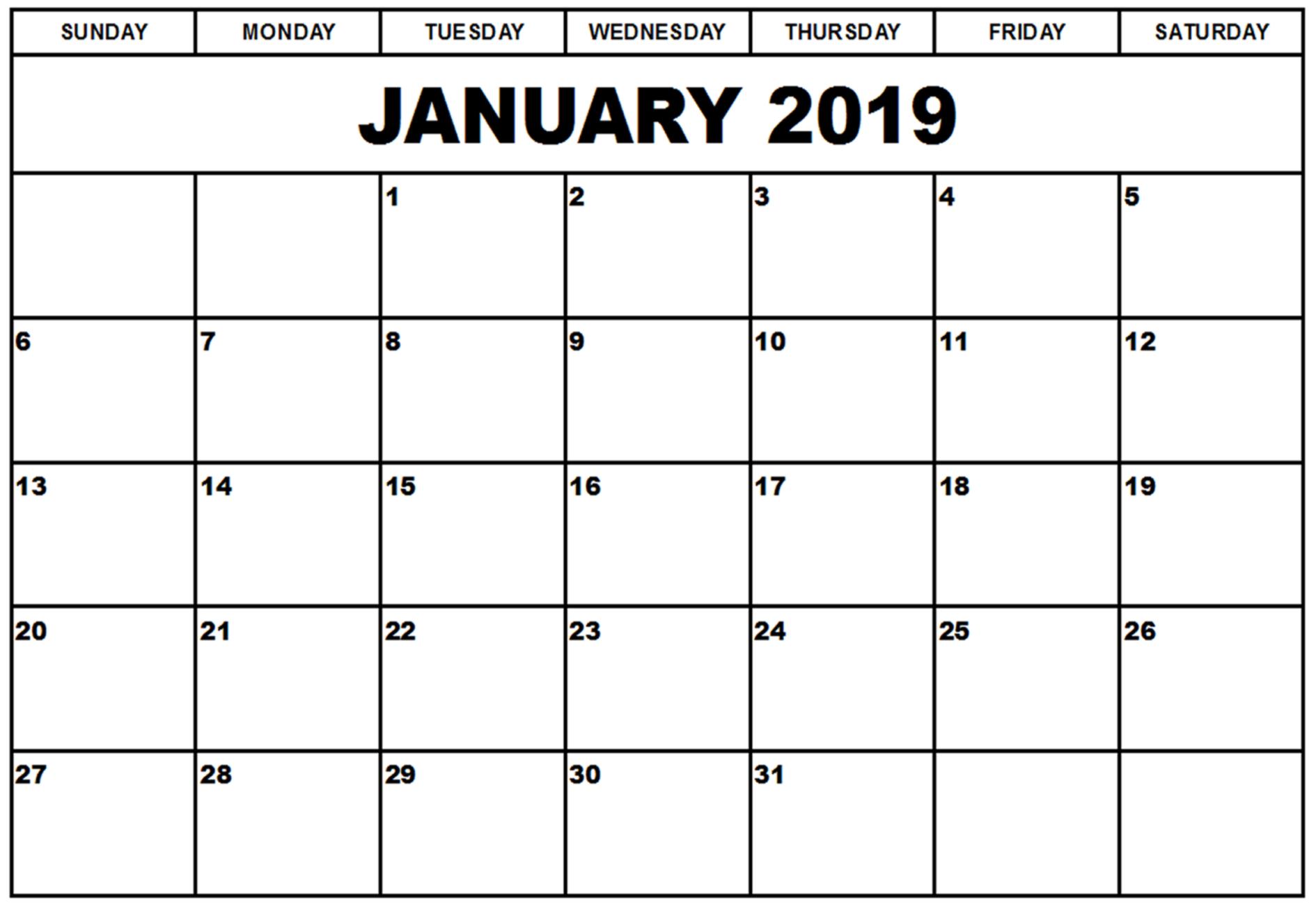 2019 January Calendar Excel - Free Printable Calendar, Blank