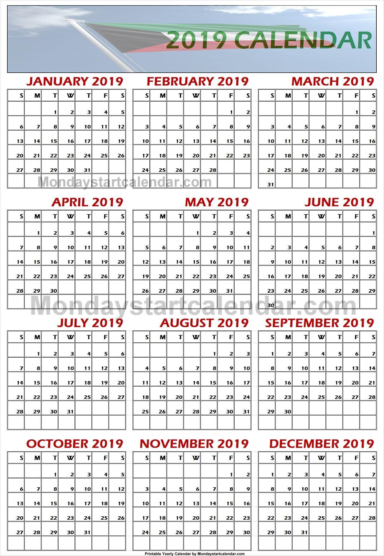 2019 Kuwait Calendar | School Holiday Calendar, Holiday