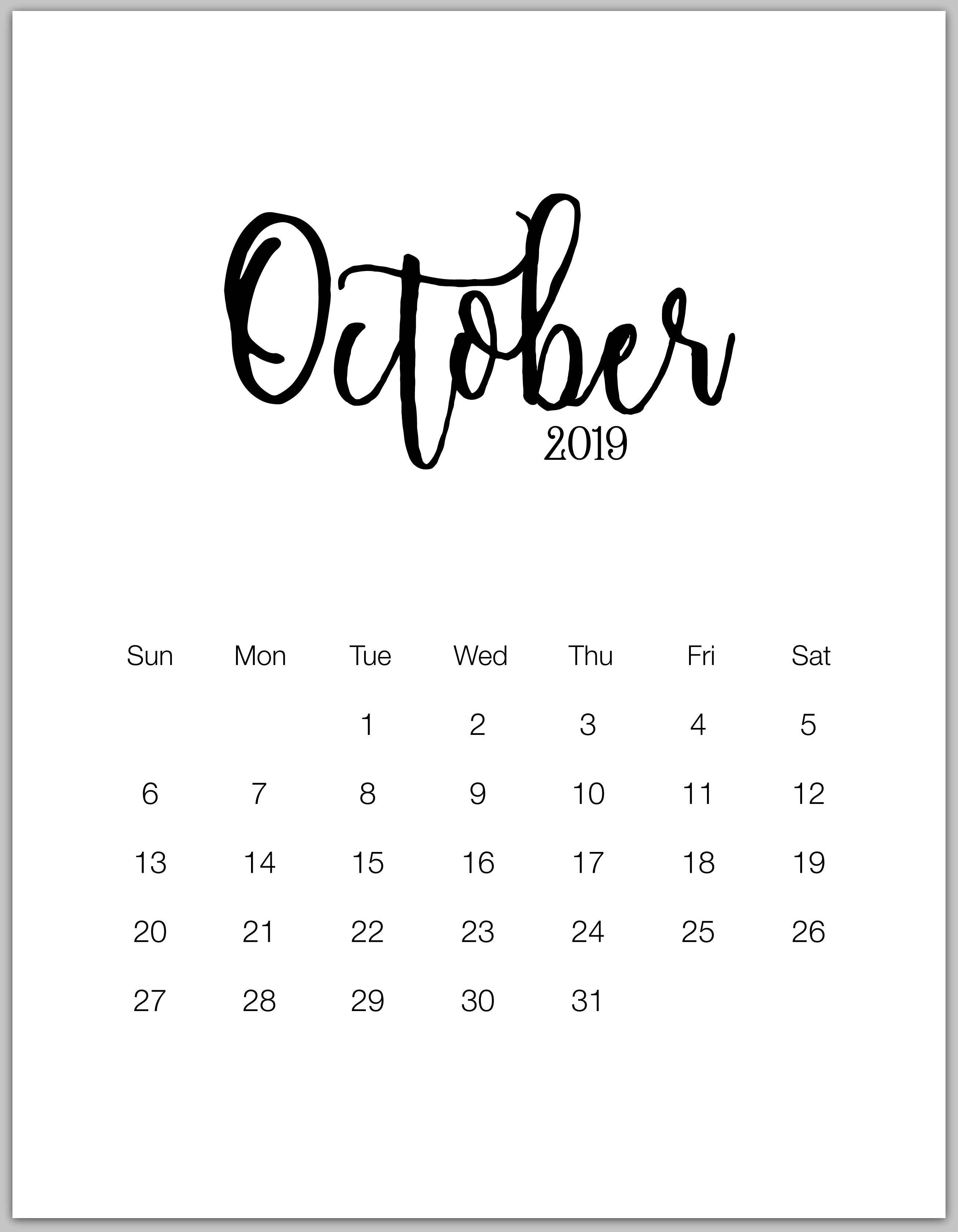 2019 Minimalist Printable Calendar From January To December