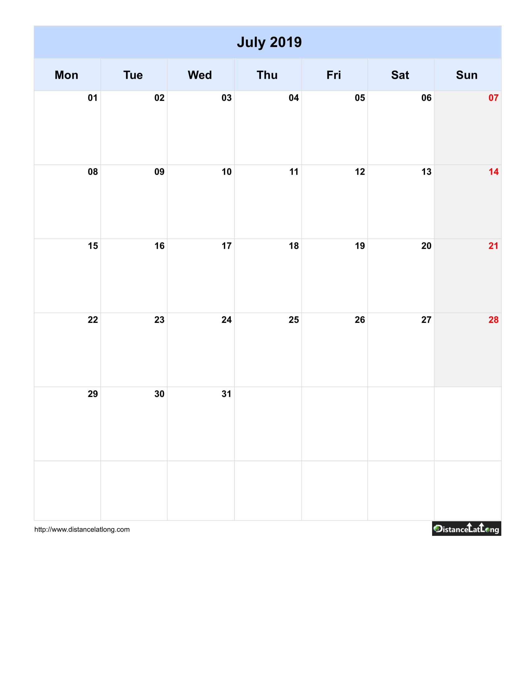 2019 Monthly Blank Calendar Portrait Orientation Free