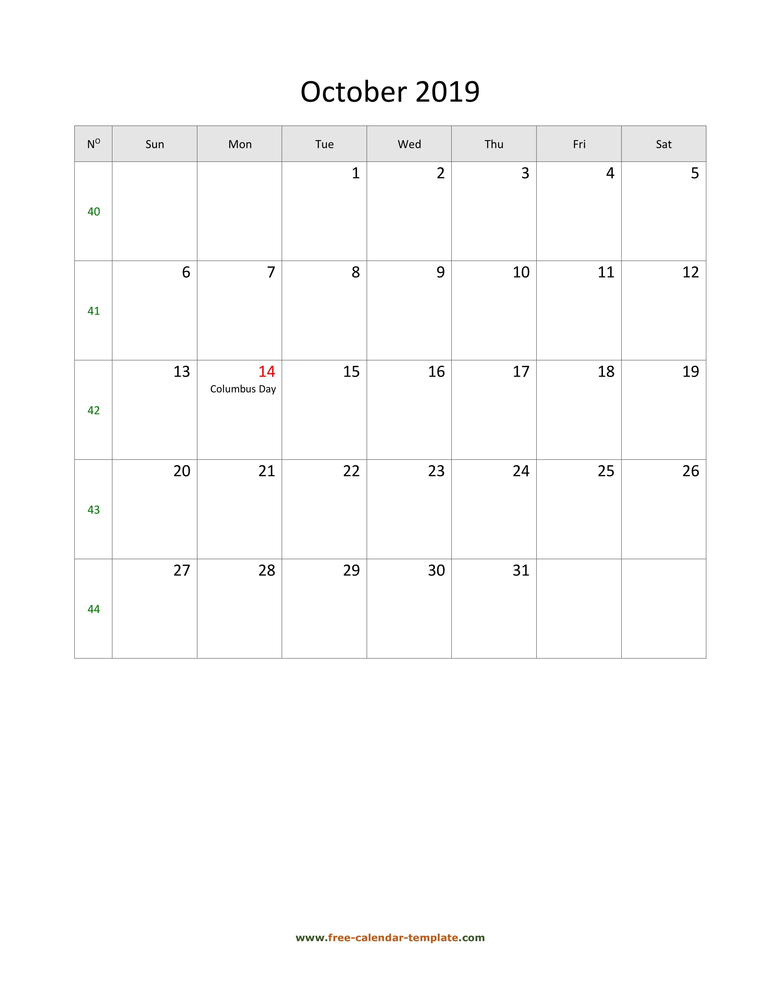 2019 October Calendar (Blank Vertical Template) | Free