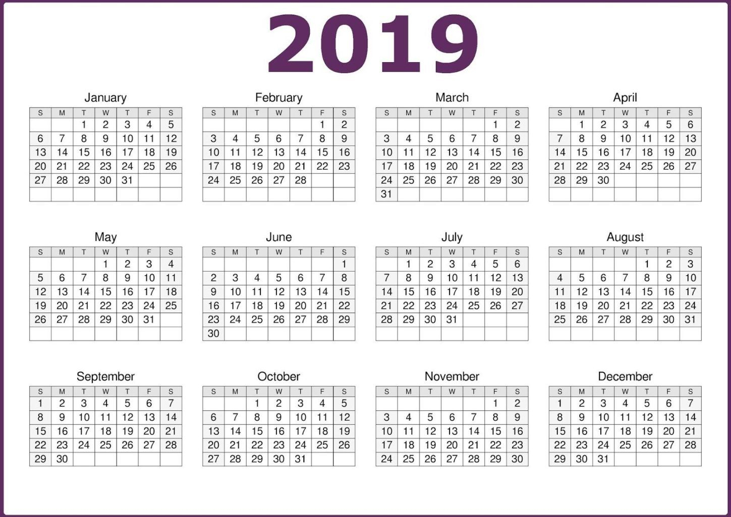 2019 One Page Calendar Printable | Calendar 2019 Template