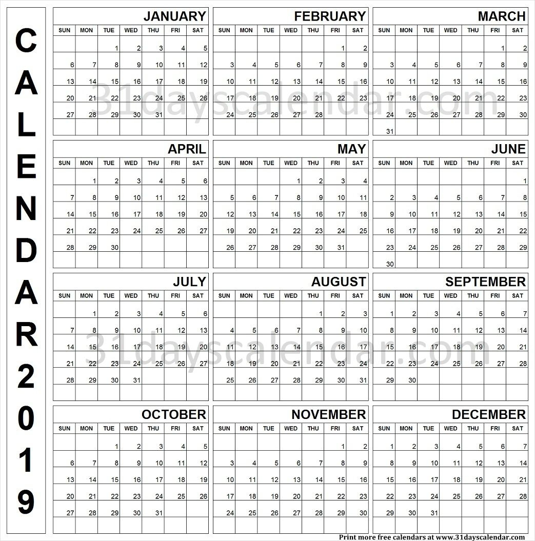 2019 Printable Calendar One Page Vertical | First Page