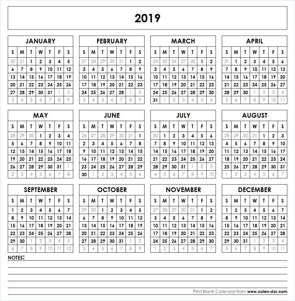 2019 Printable Calendar | Yearly Calendar Template, Calendar