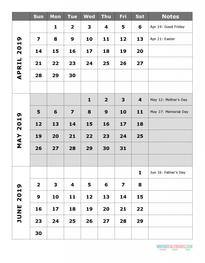 2019 Quarterly Calendar Printable Q.2: April May June | Free