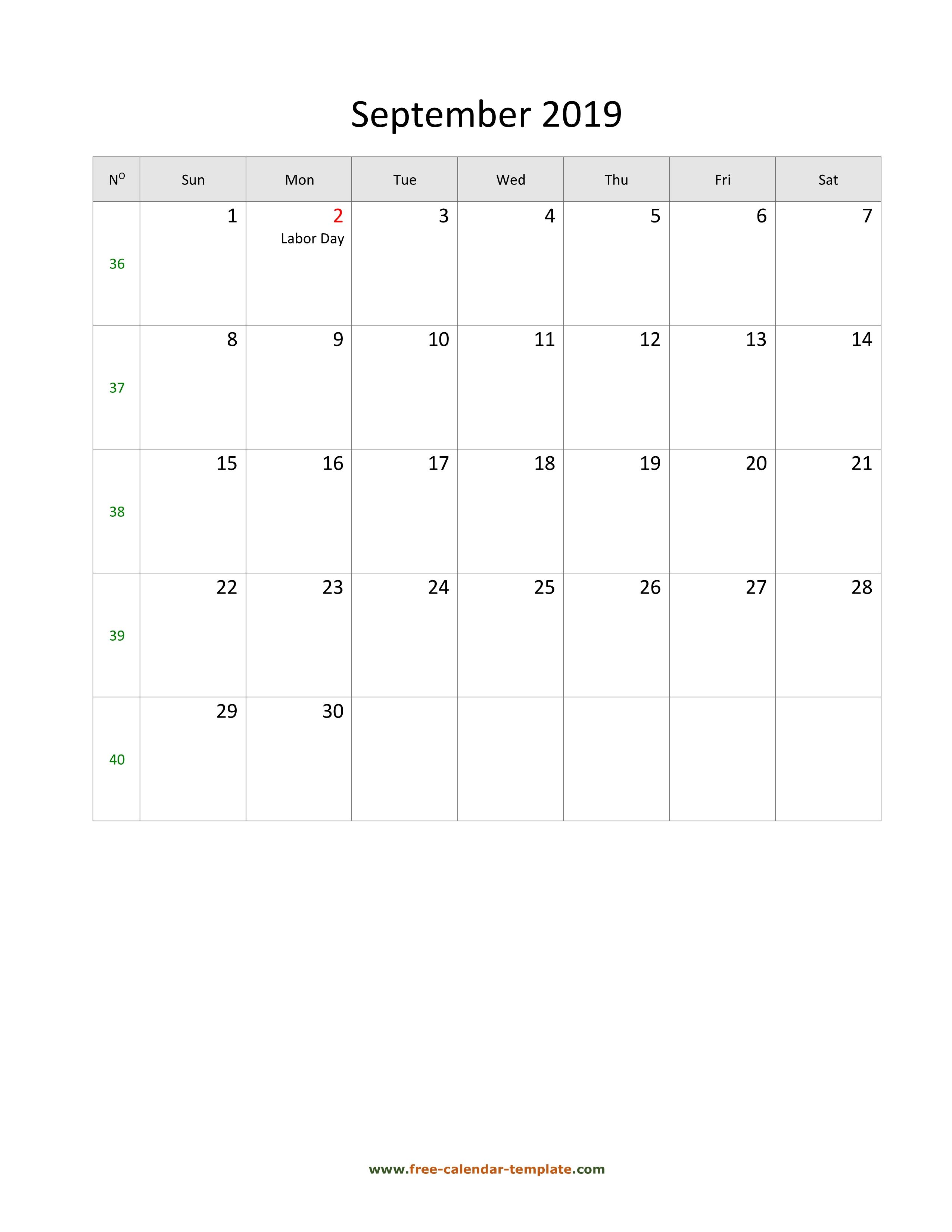 2019 September Calendar (Blank Vertical Template) | Free
