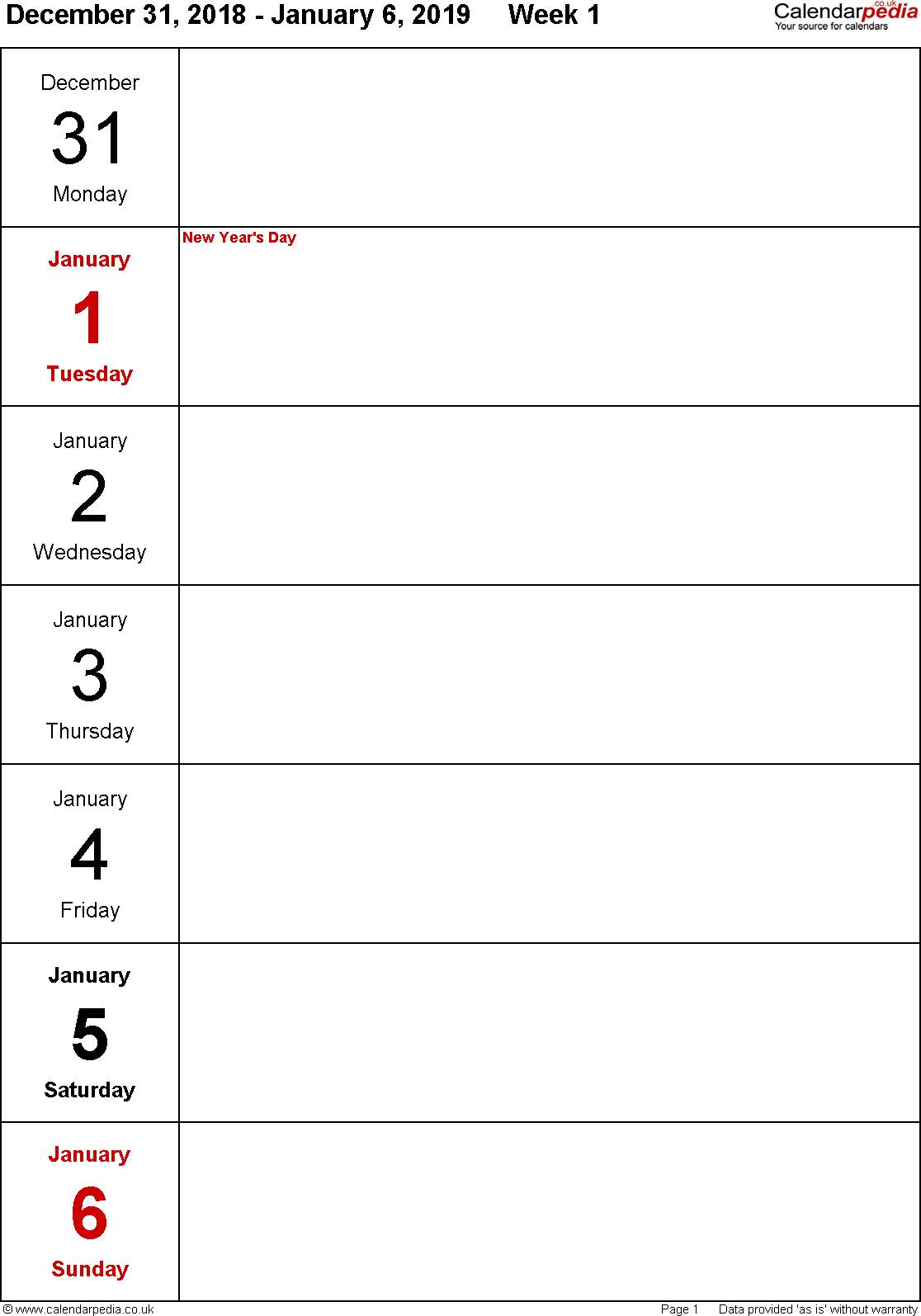 2019 Weekly Planner Printable New Weekly Calendar 2019 Uk