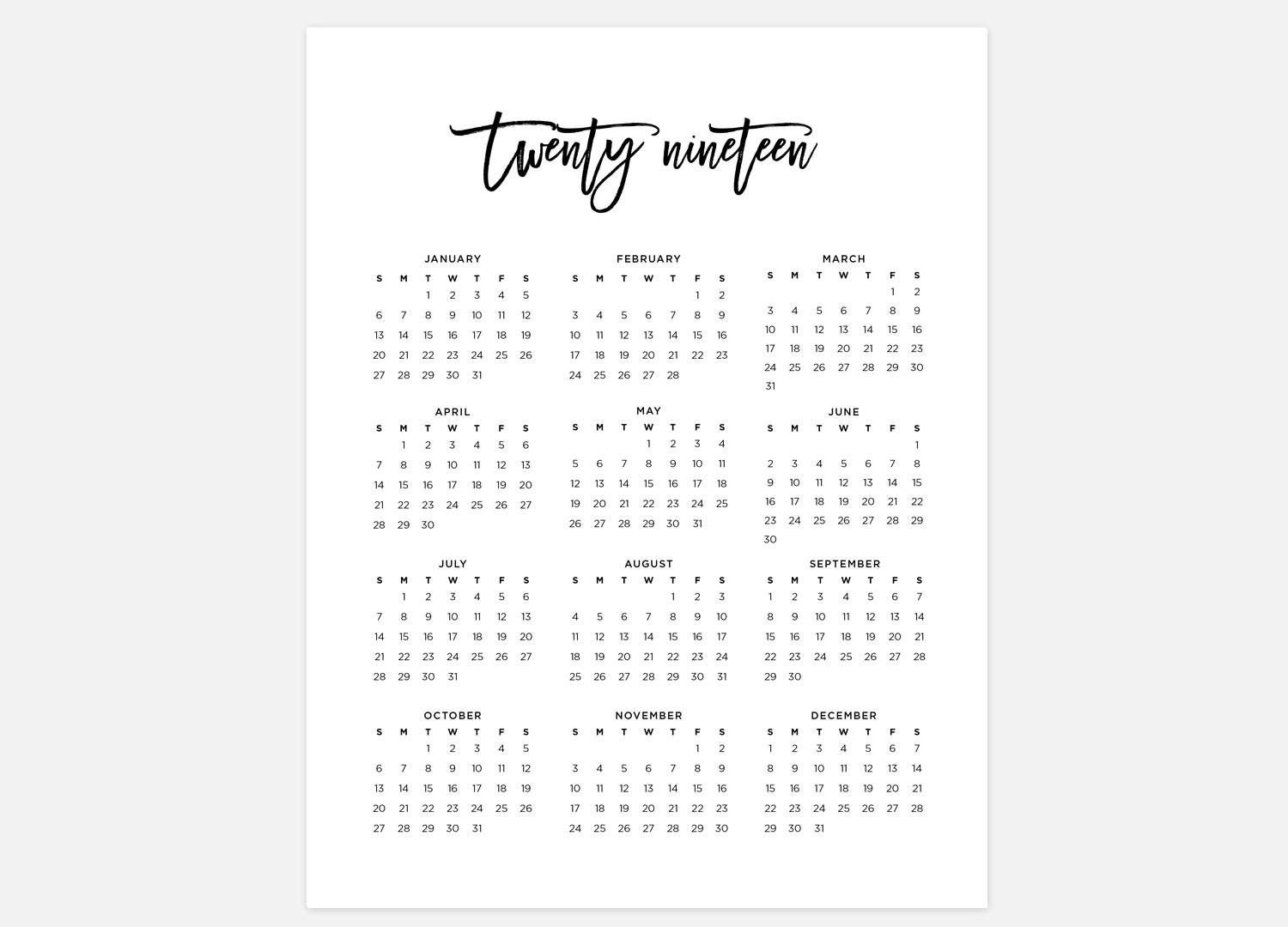 2019 Year At A Glance Printable Calendar 2019 Calendar