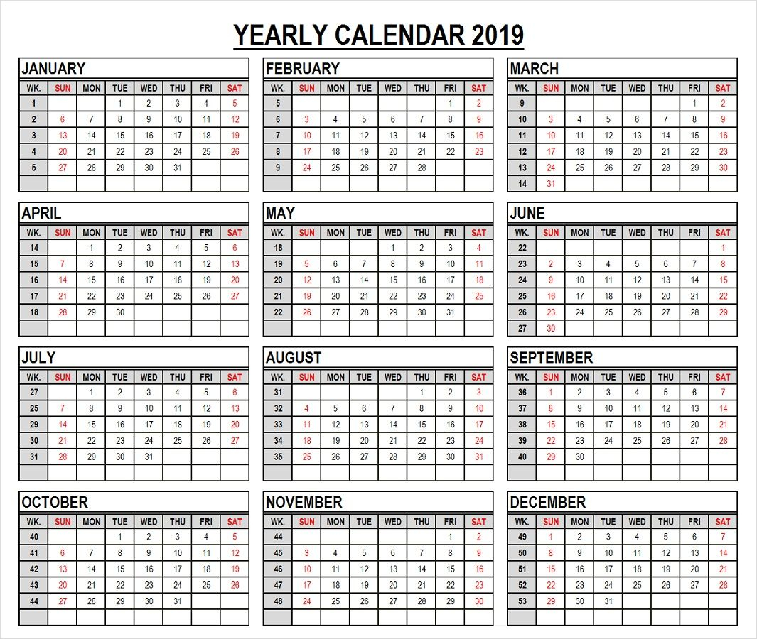 2019 Year Calendar In Weeks | 2019 Calendar, Yearly Calendar
