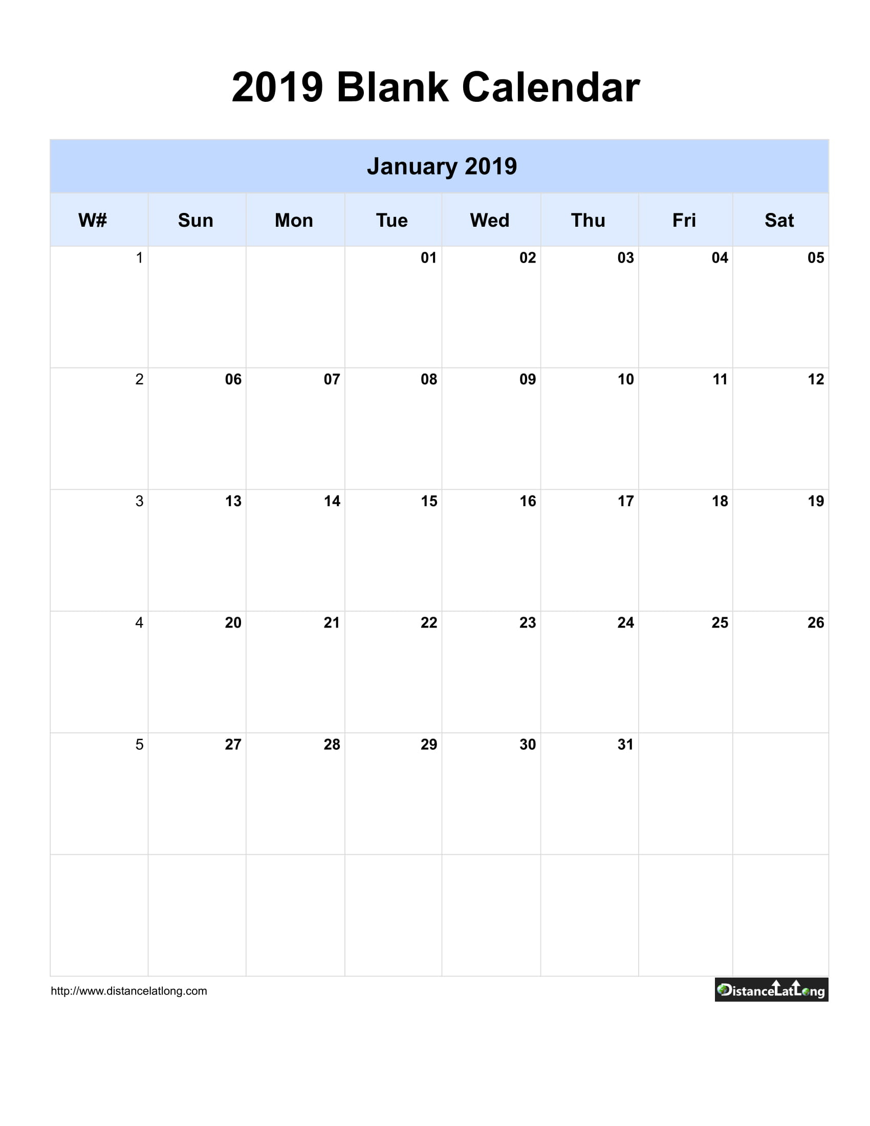 2019 Yearly Blank Calendar Yearly Blank Portrait Orientation