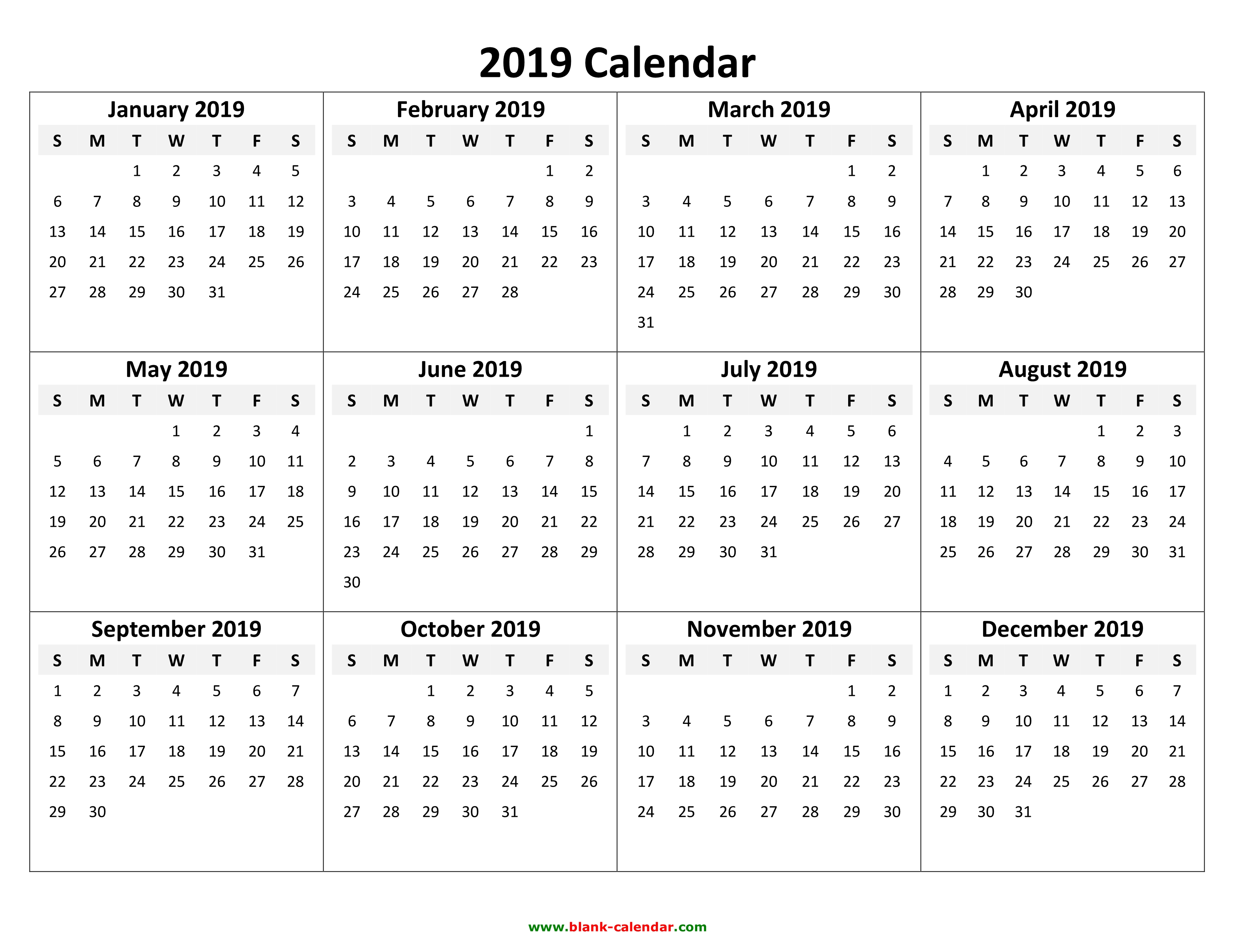 2019 Yearly Calendar - Free Download