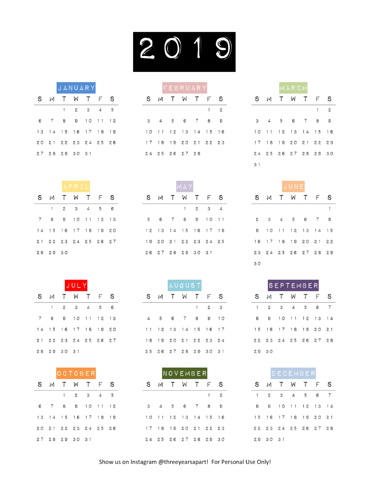 2019 Yearly Calendar Free Printable | Bullet Journal Yearly