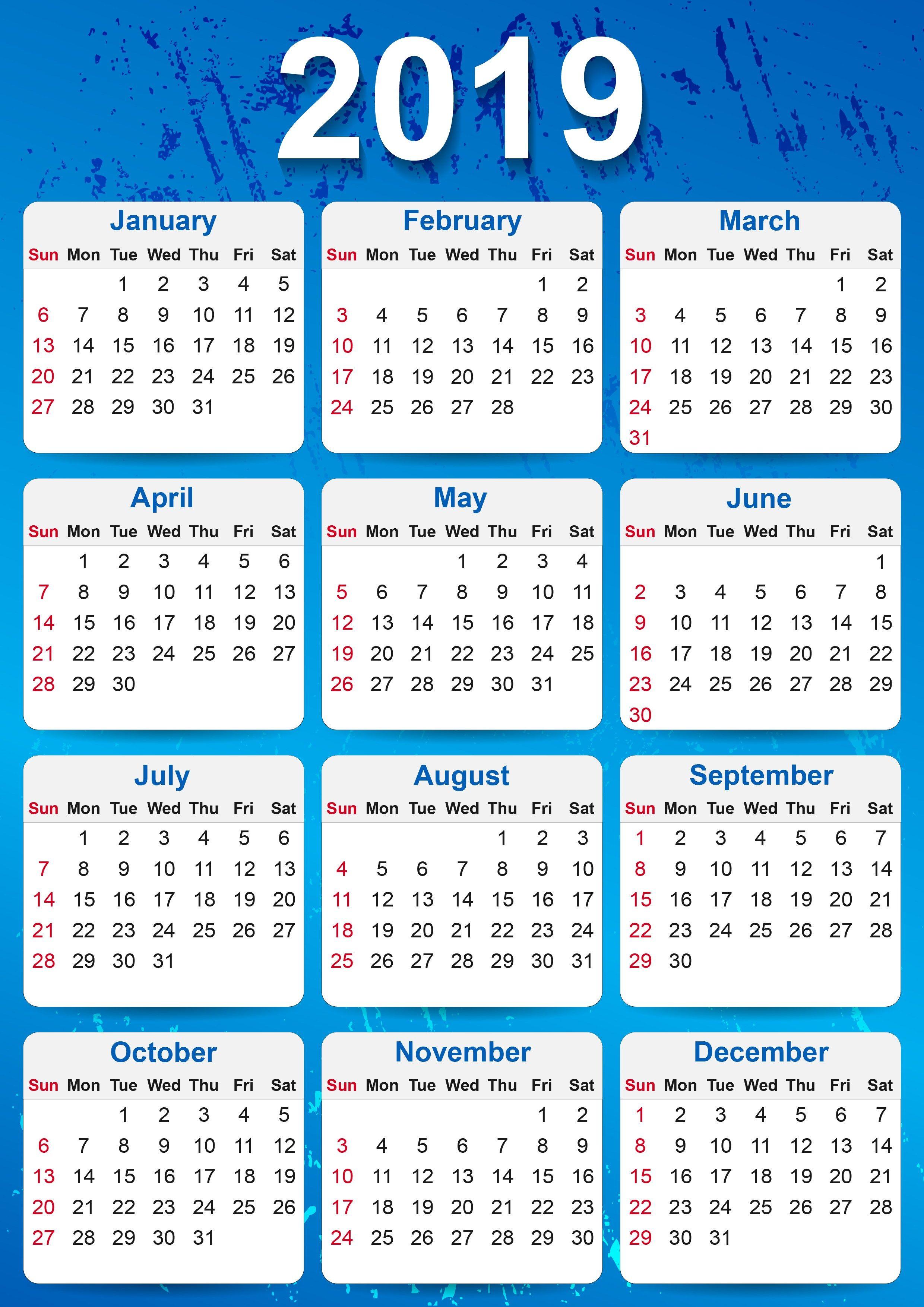 2019 Yearly Calendar Printable | 2019 Yearly Calendar