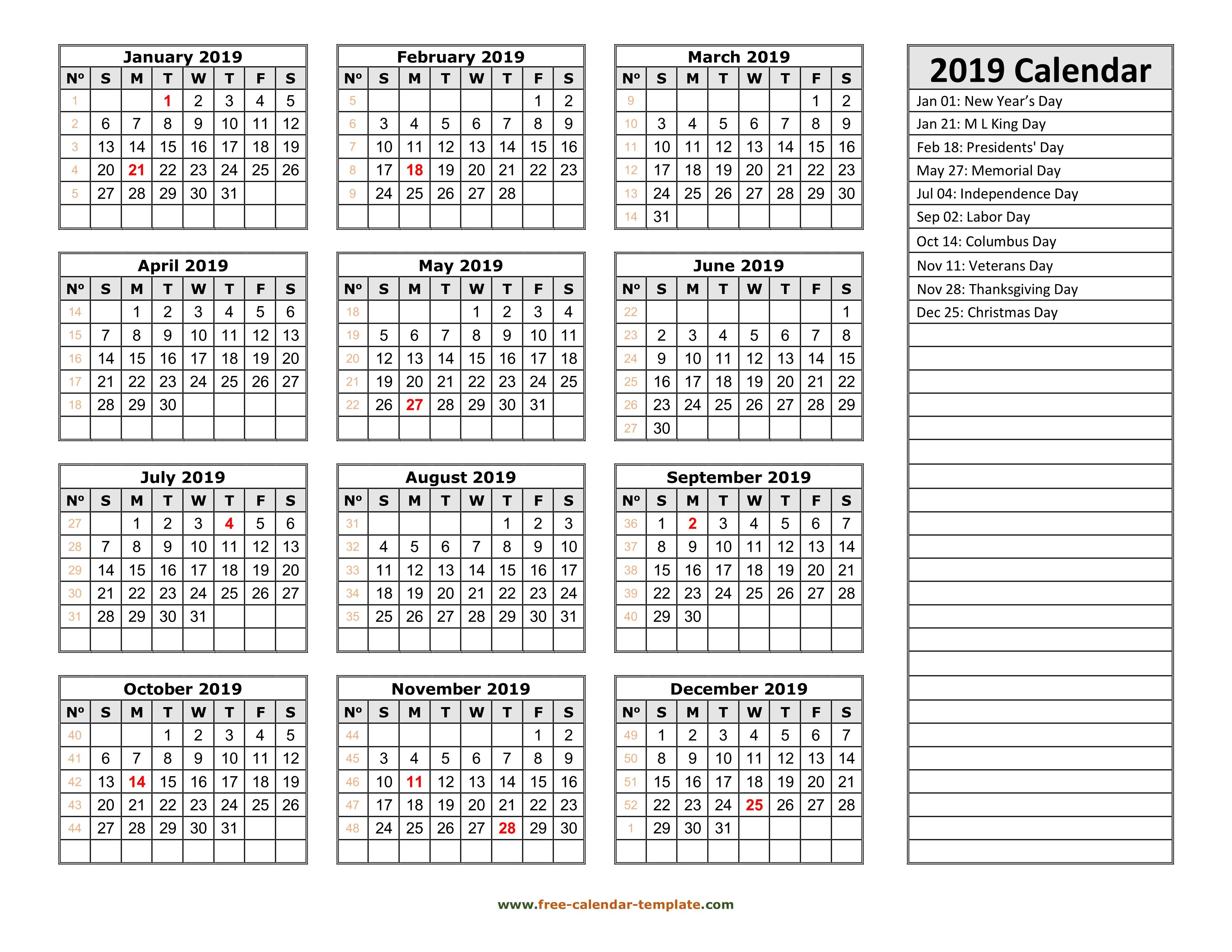 2019 Yearly Calendar Printable With Week Numbers | Free