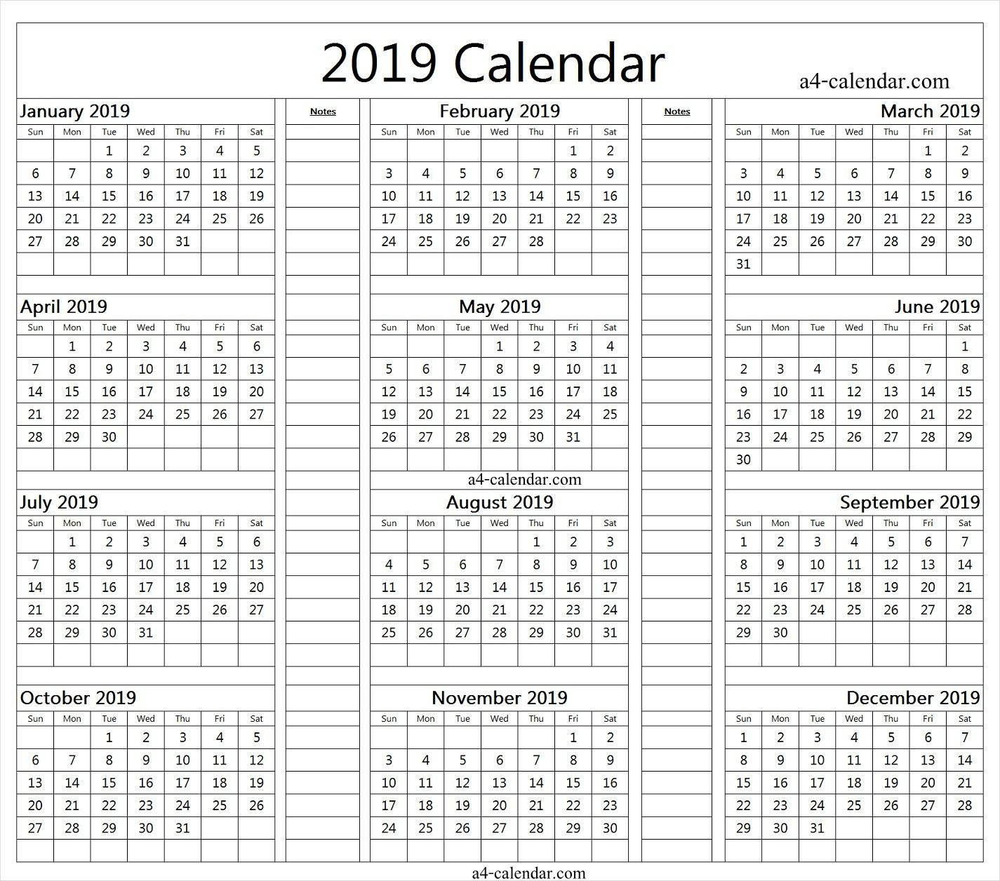 2019 Yearly Calendar With Notes | Yearly Calendar, Blank