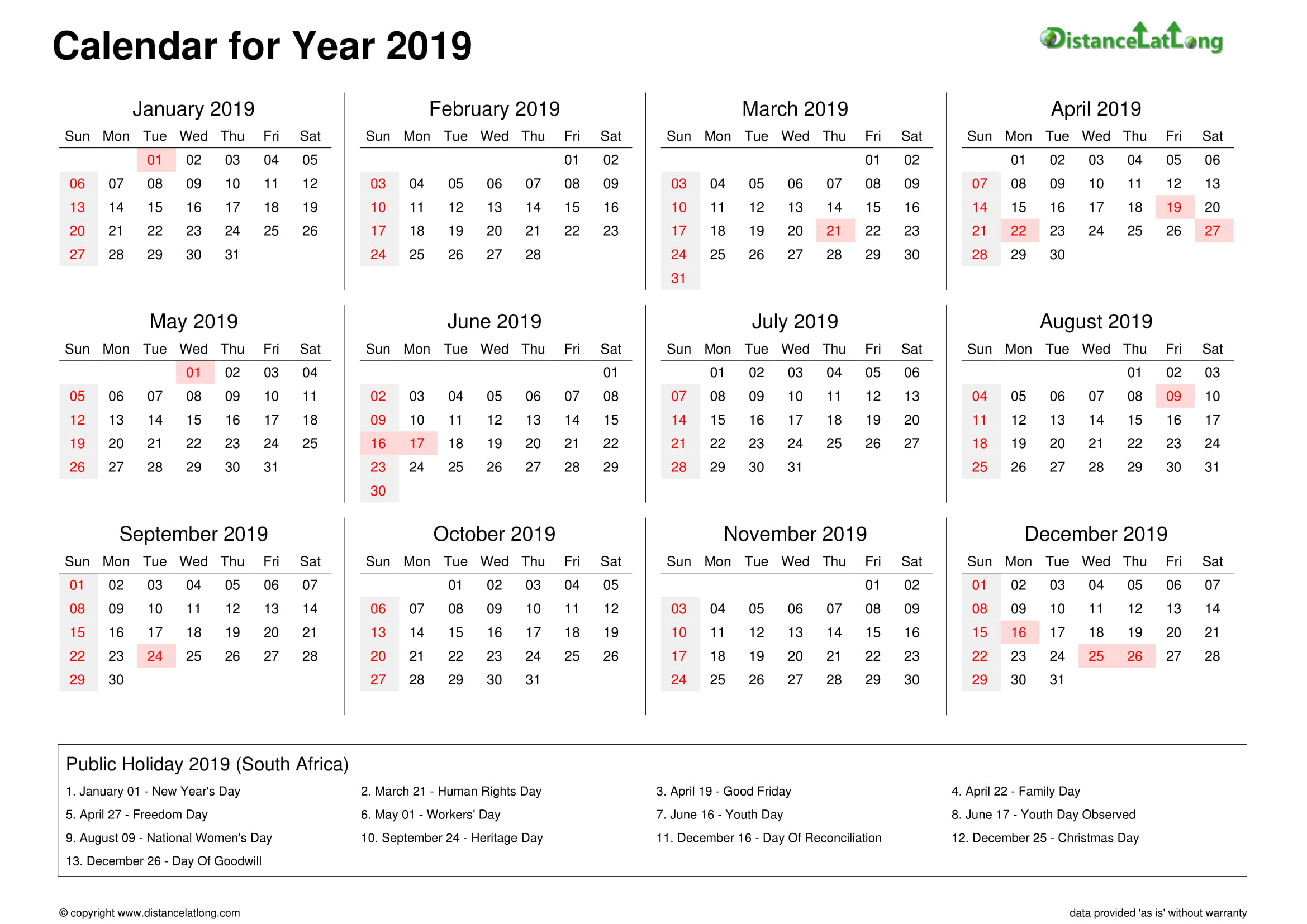 2019 Yearly Holiday Calendar Yearly Landscape Orientation