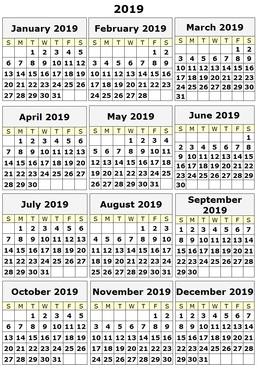 2019 Yearly Printable Calendar One Page, 12 Month Calendar