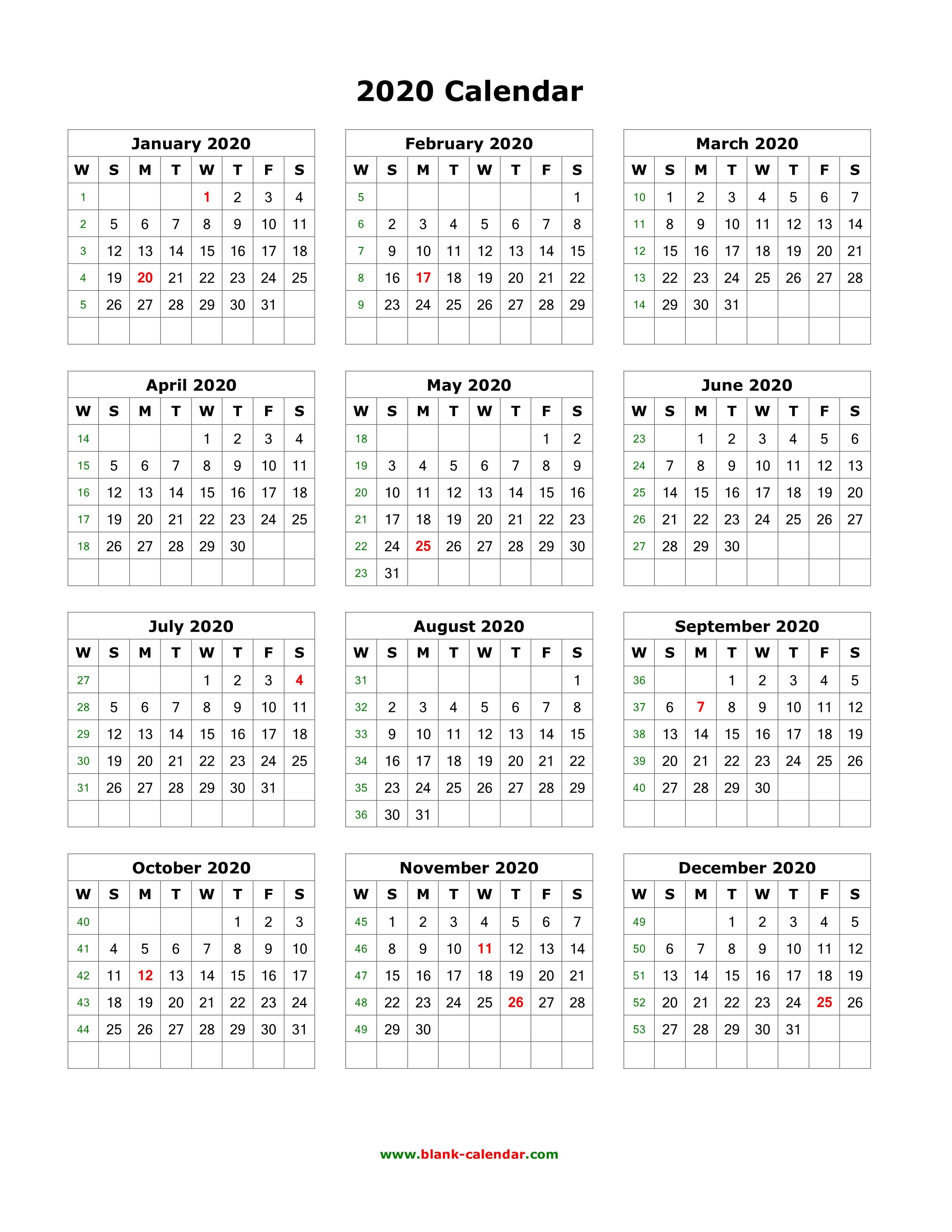 2020 1 Page Calendar - Wpa.wpart.co