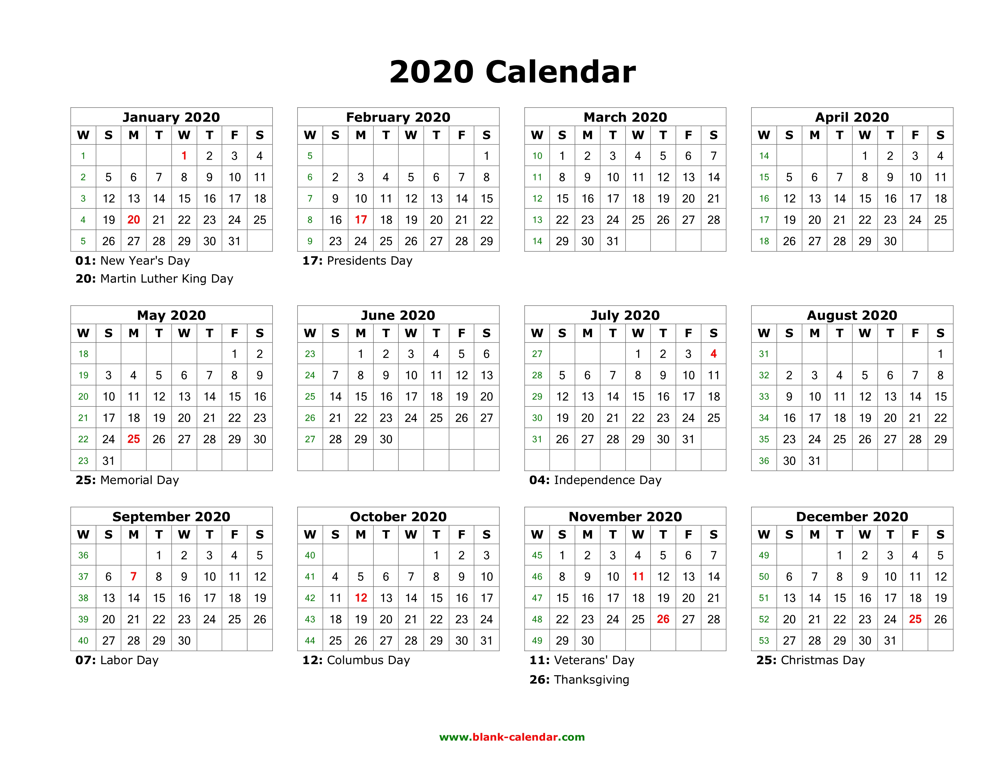 2020 12 Month Calendar On One Page - Wpa.wpart.co