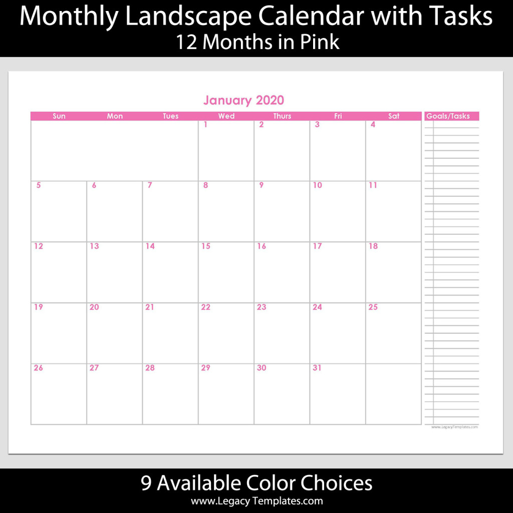 """2020 - 12 Month Calendar With Tasks - 8 1/2"""" X 11"""" 