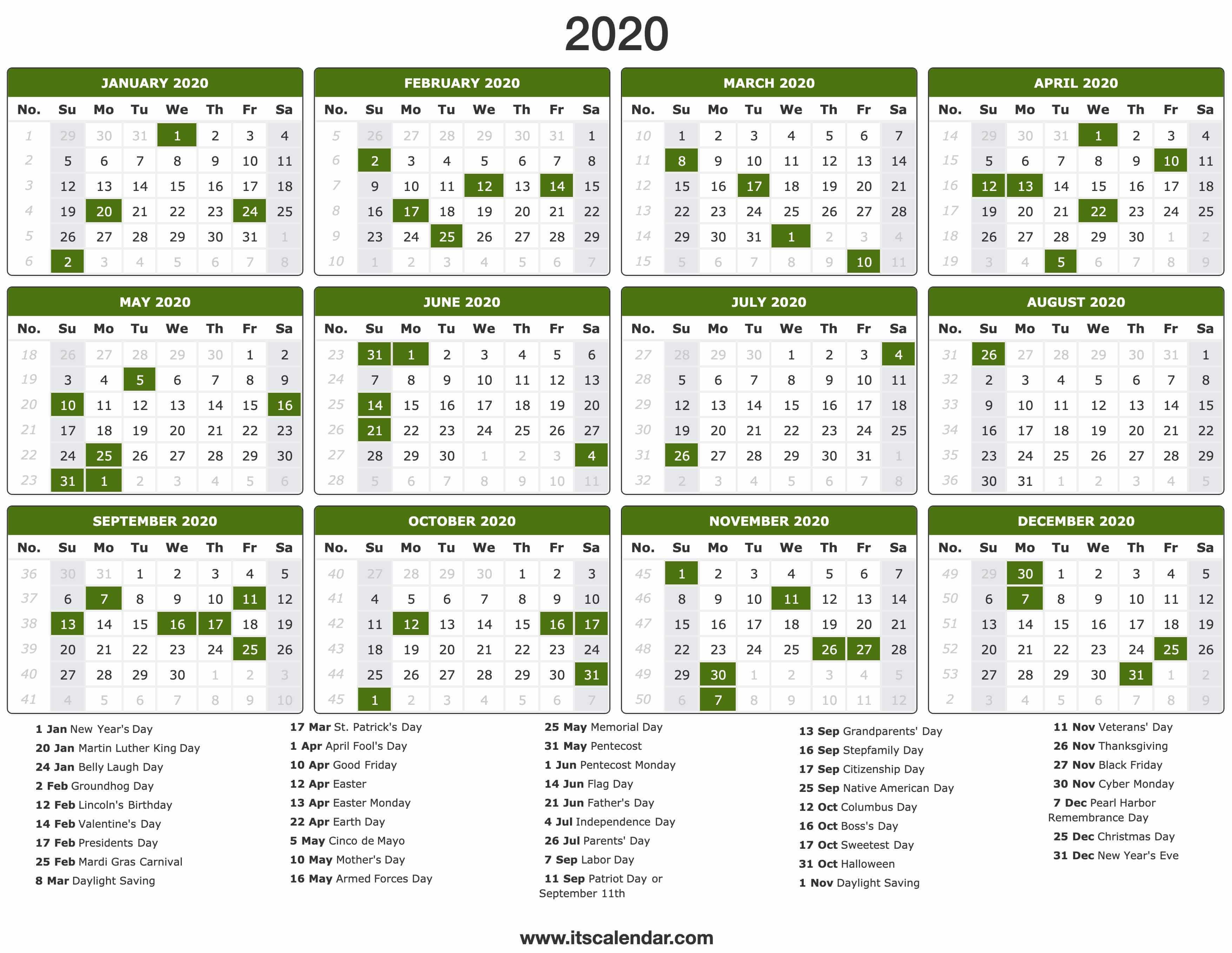 2020 2020 2020 Calendar Printable - Wpa.wpart.co
