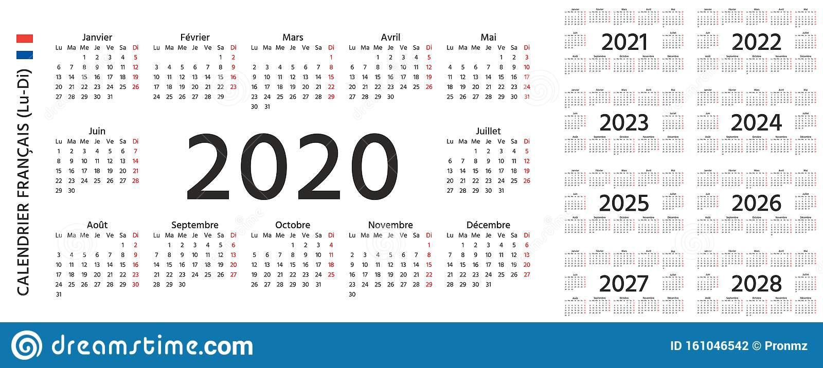 2020 2021 2022 French Calendar. Vector Illustration
