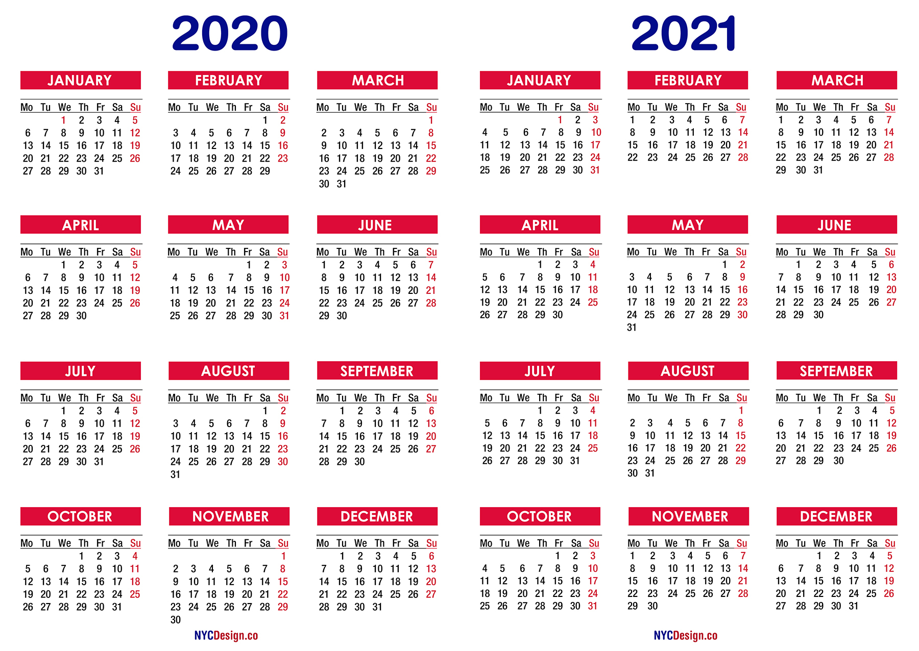 2020 – 2021 Two Year Calendar Printable Free – Nycdesign.co