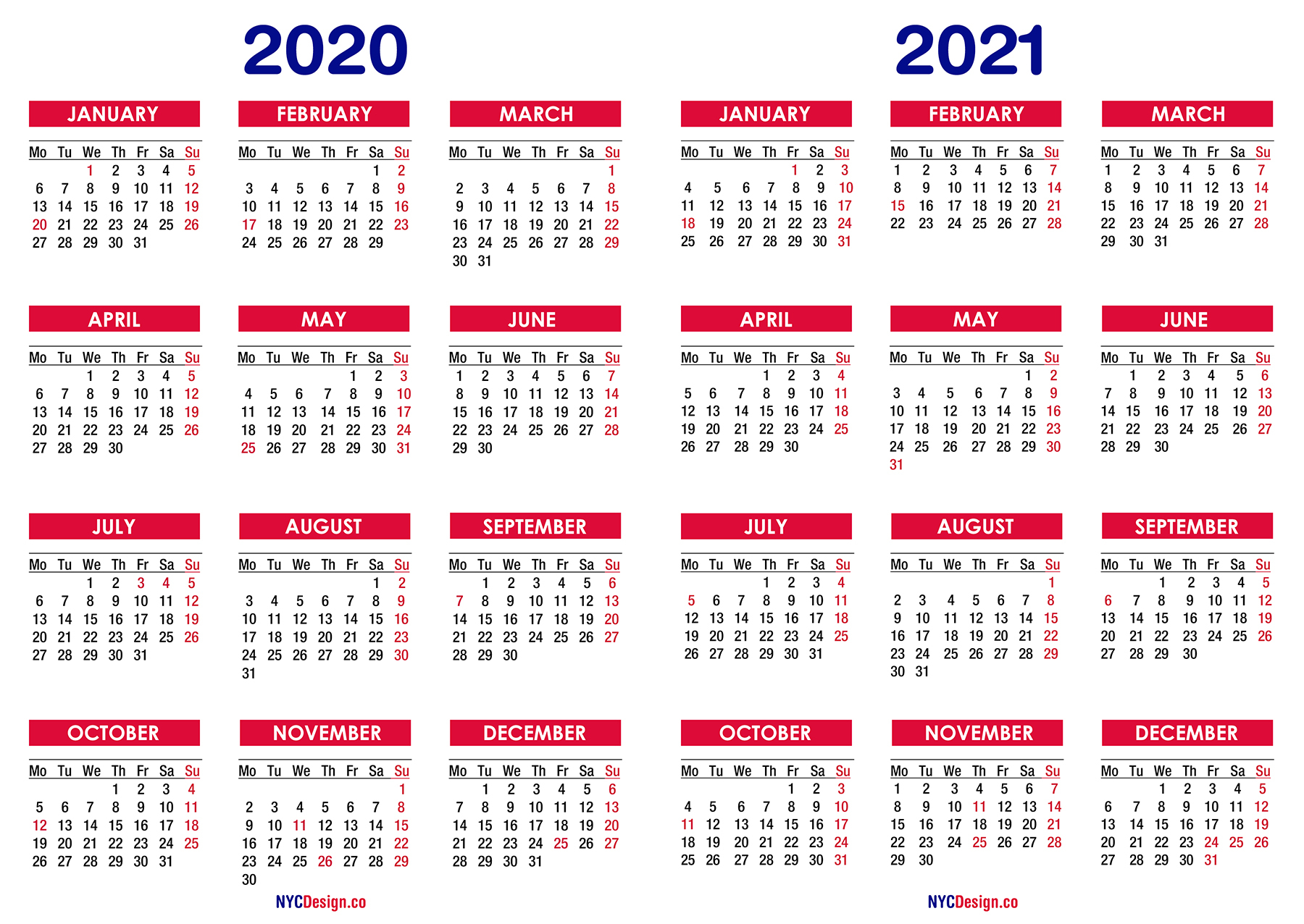 2020 – 2021 Two Year Calendar With Holidays, Printable Free